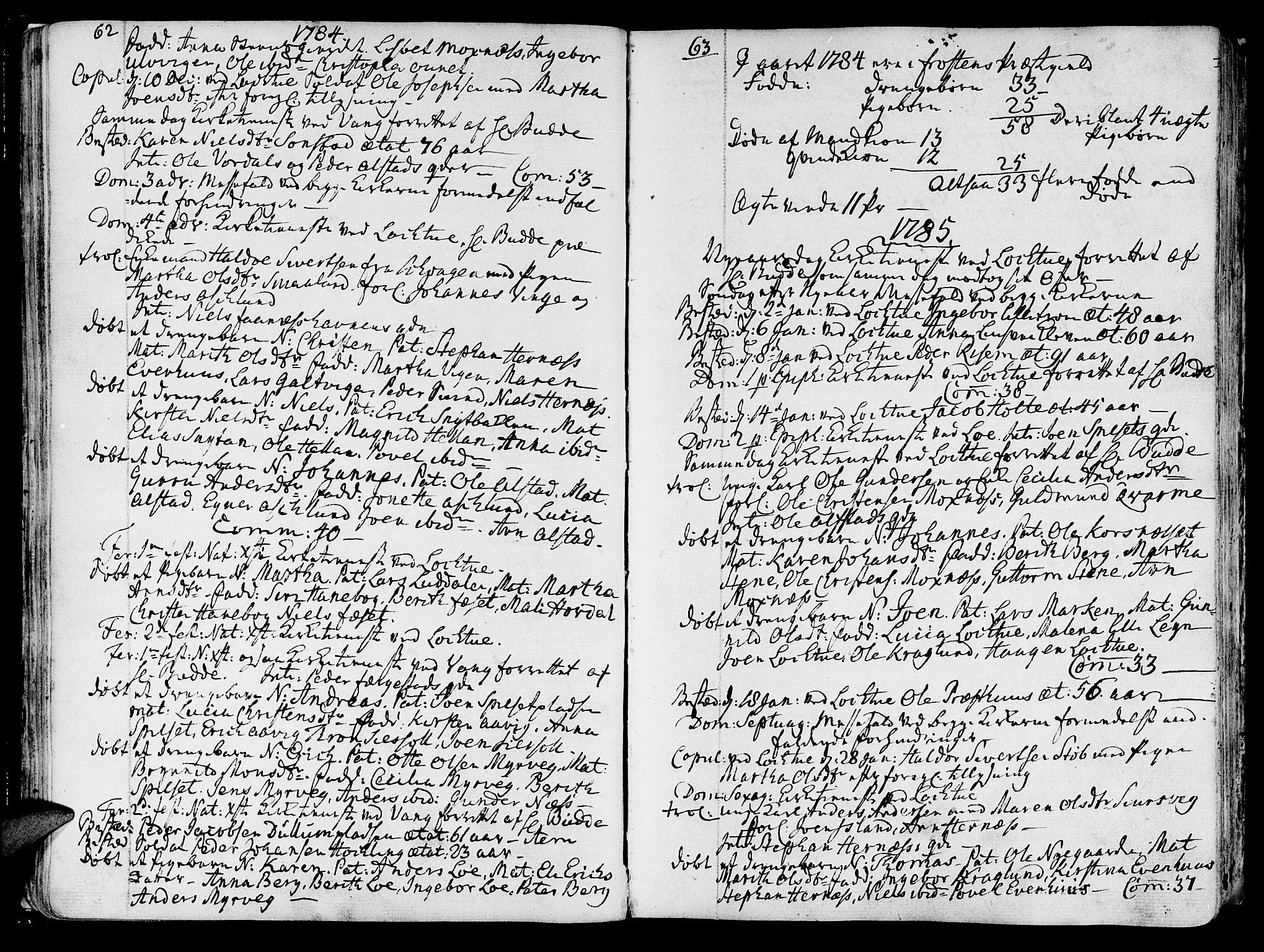 SAT, Ministerialprotokoller, klokkerbøker og fødselsregistre - Nord-Trøndelag, 713/L0110: Ministerialbok nr. 713A02, 1778-1811, s. 62-63