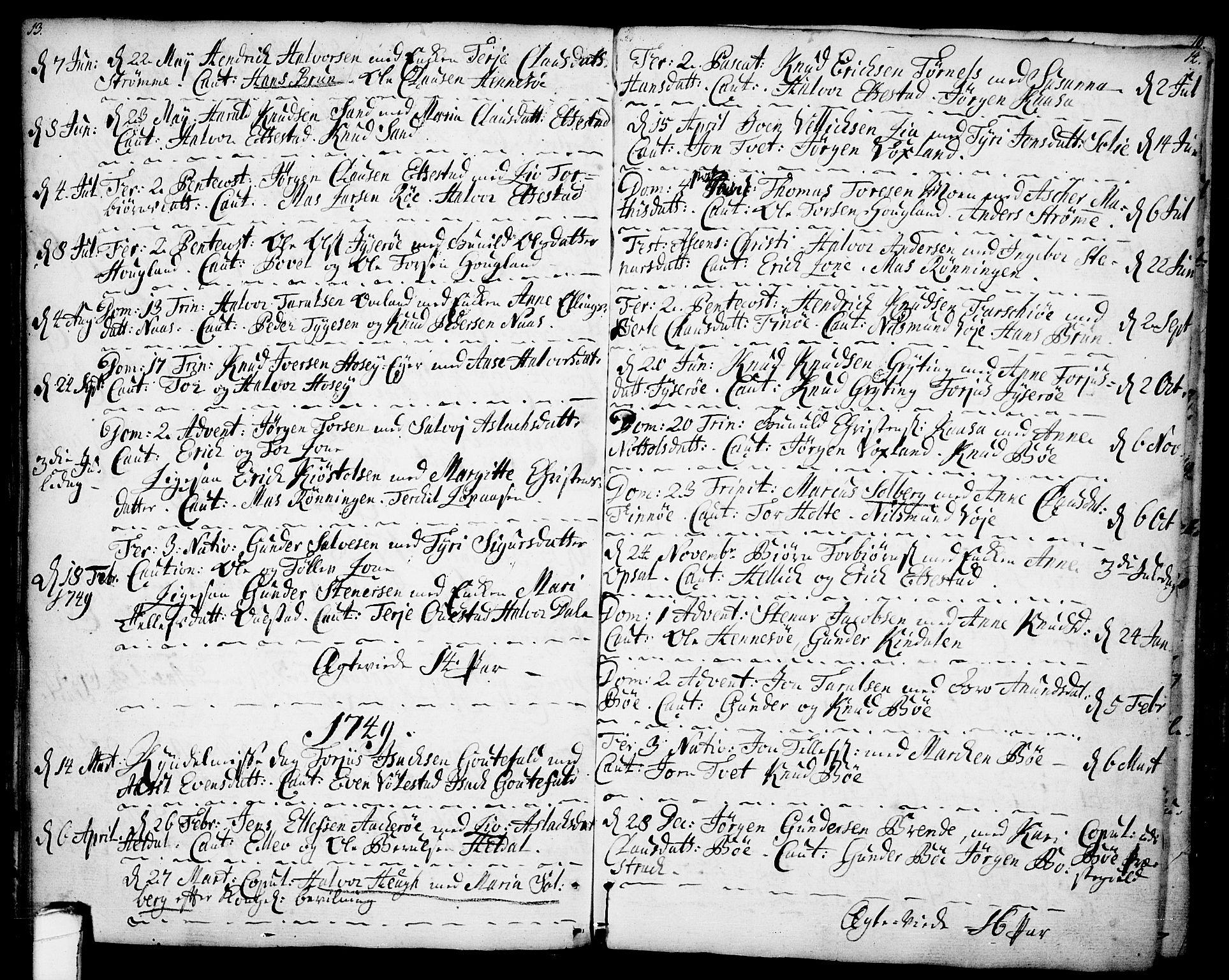 SAKO, Drangedal kirkebøker, F/Fa/L0001: Ministerialbok nr. 1, 1697-1767, s. 13-14