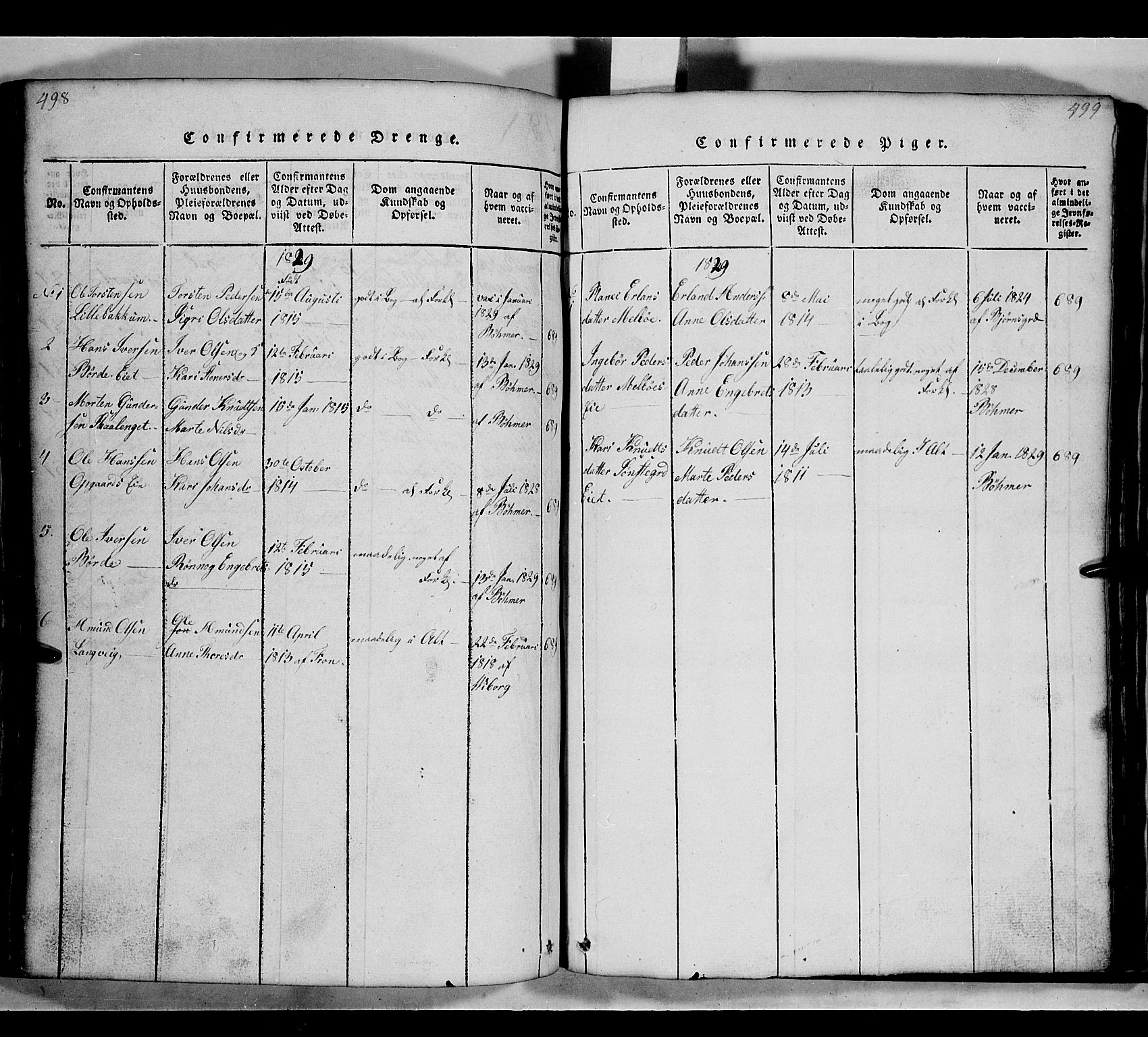 SAH, Gausdal prestekontor, Klokkerbok nr. 2, 1818-1874, s. 498-499