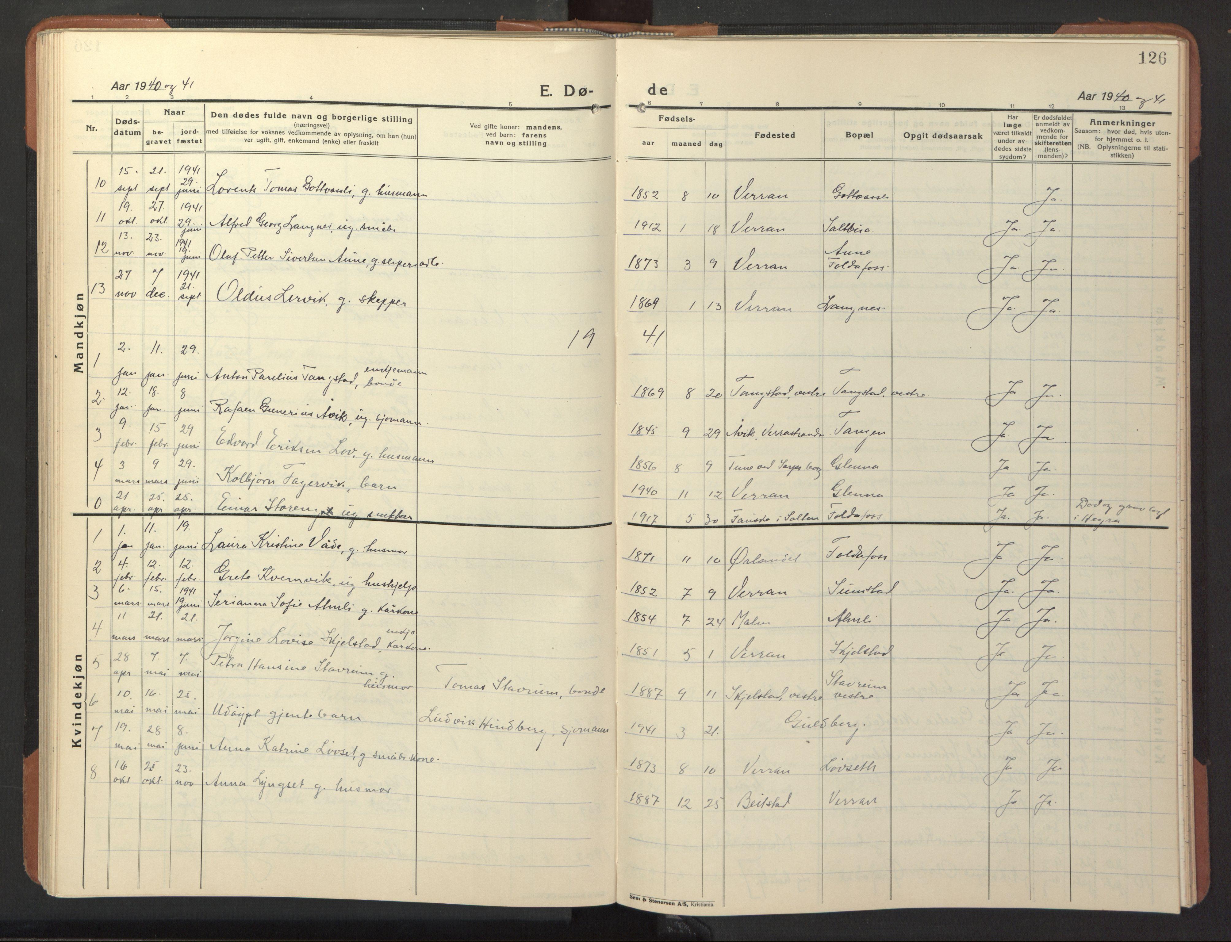 SAT, Ministerialprotokoller, klokkerbøker og fødselsregistre - Nord-Trøndelag, 744/L0425: Klokkerbok nr. 744C04, 1924-1947, s. 126