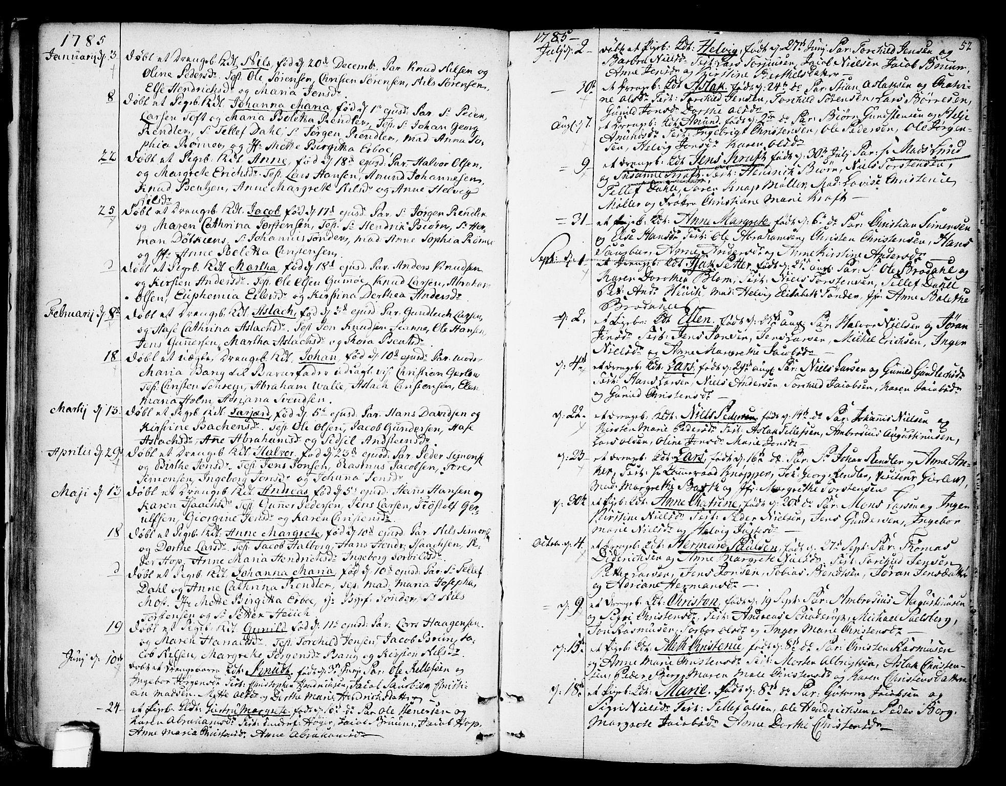 SAKO, Kragerø kirkebøker, F/Fa/L0002: Ministerialbok nr. 2, 1767-1802, s. 52