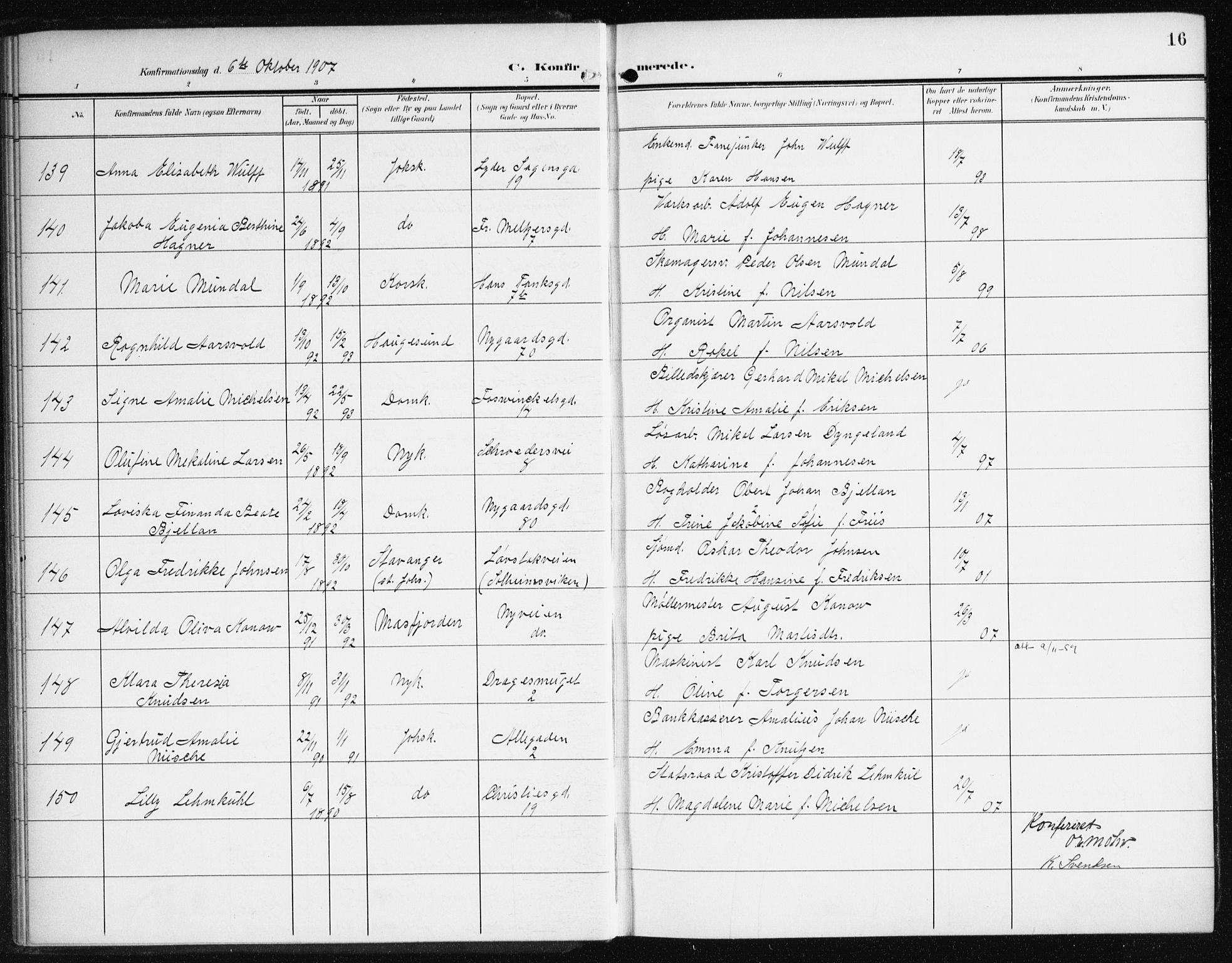 SAB, Johanneskirken Sokneprestembete, H/Haa/L0009: Ministerialbok nr. C 2, 1907-1924, s. 16