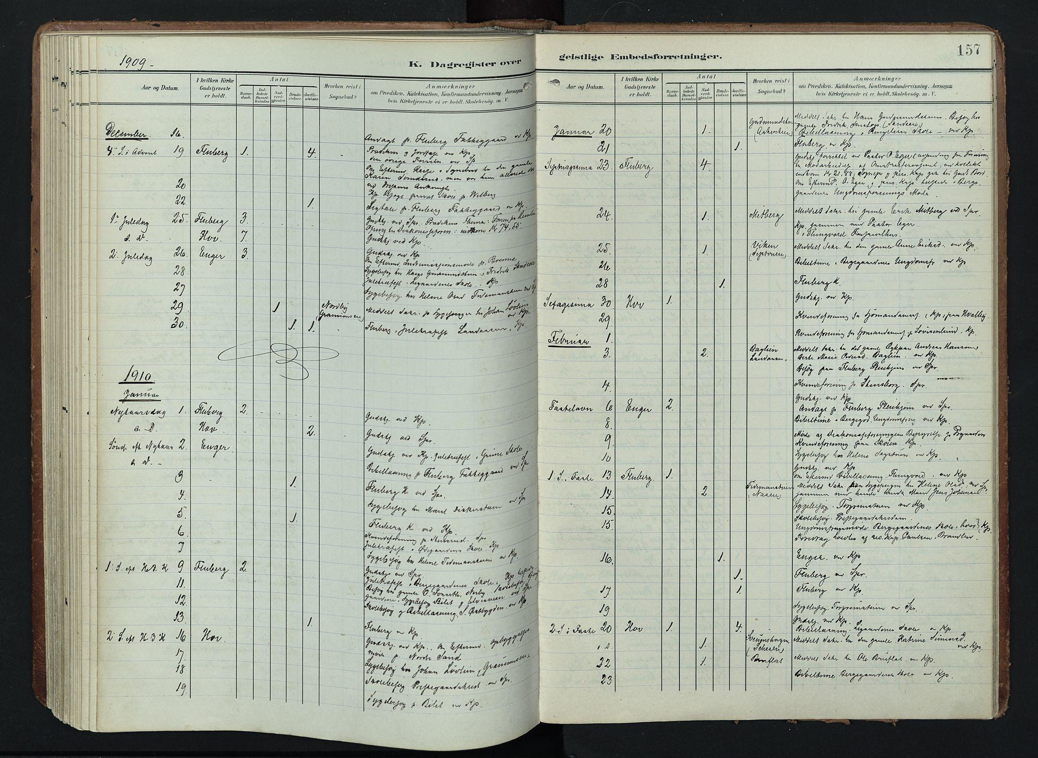 SAH, Søndre Land prestekontor, K/L0005: Ministerialbok nr. 5, 1905-1914, s. 157