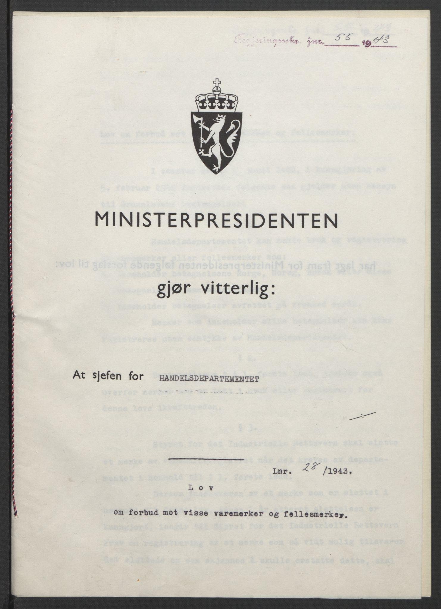 RA, NS-administrasjonen 1940-1945 (Statsrådsekretariatet, de kommisariske statsråder mm), D/Db/L0099: Lover, 1943, s. 114
