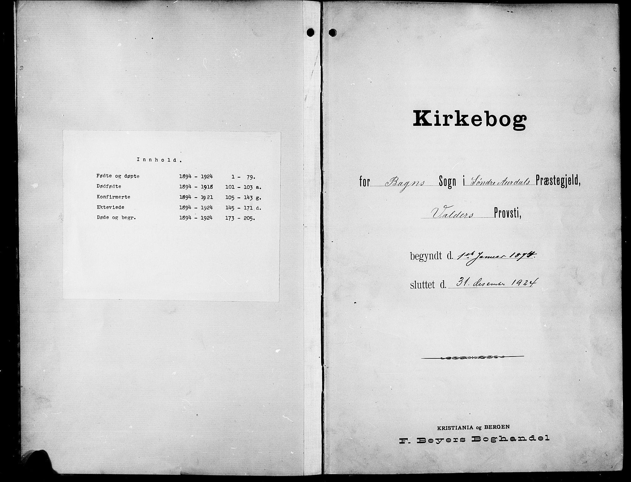 SAH, Sør-Aurdal prestekontor, Klokkerbok nr. 9, 1894-1924