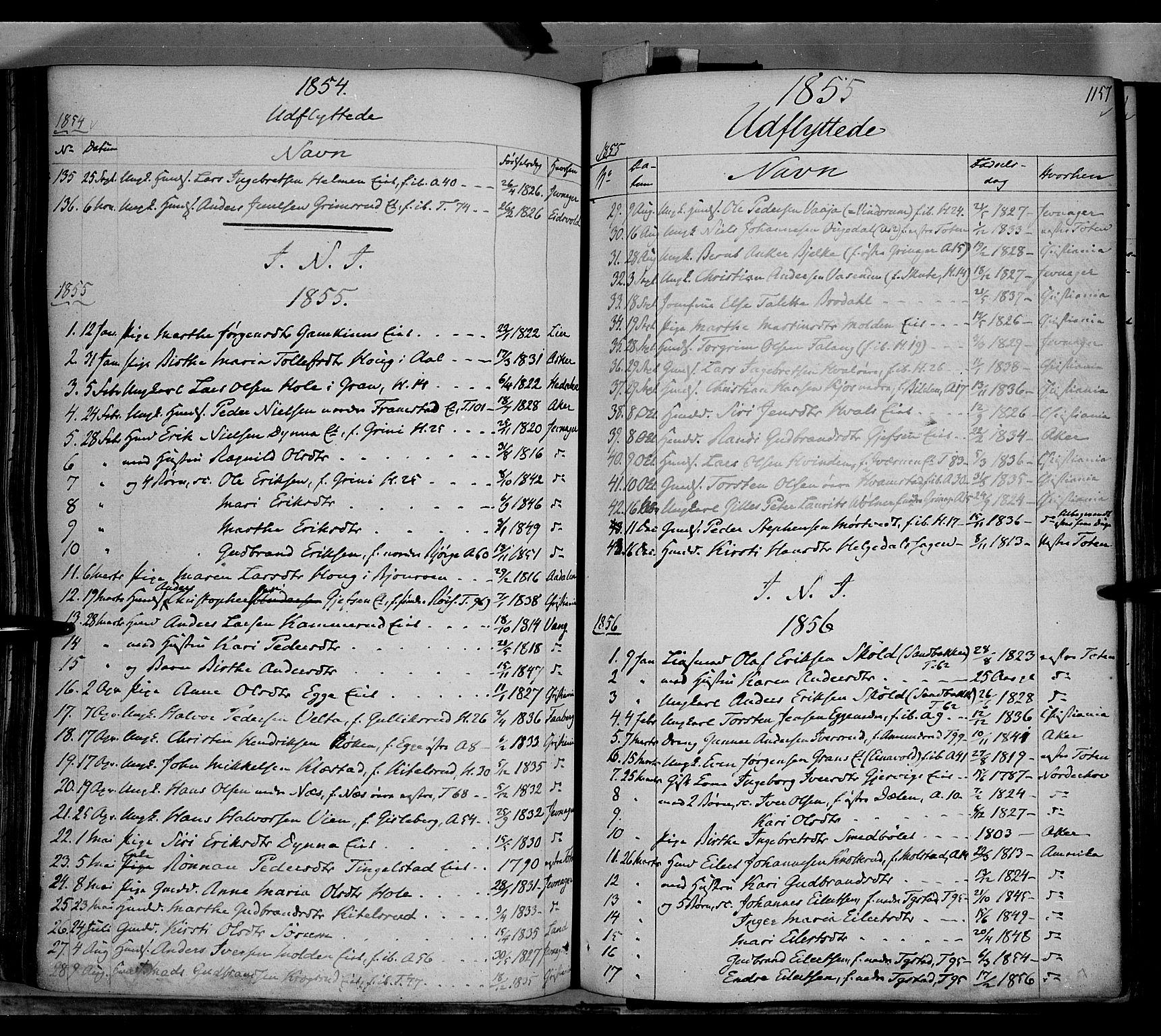SAH, Gran prestekontor, Ministerialbok nr. 11, 1842-1856, s. 1156-1157