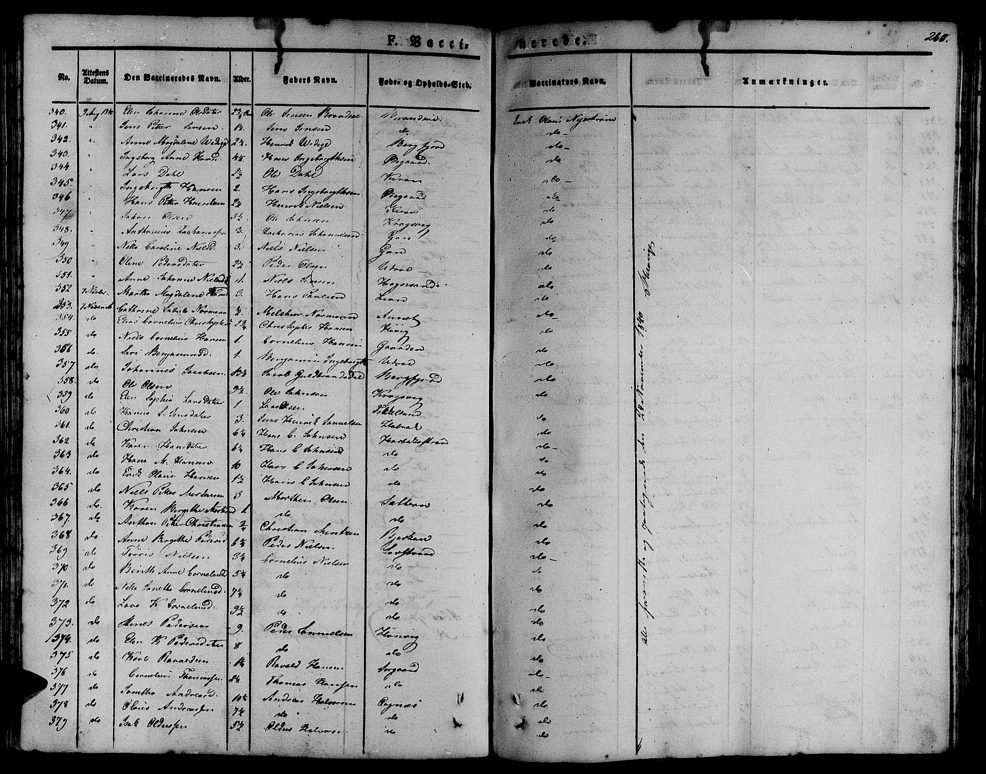 SAT, Ministerialprotokoller, klokkerbøker og fødselsregistre - Sør-Trøndelag, 657/L0703: Ministerialbok nr. 657A04, 1831-1846, s. 260