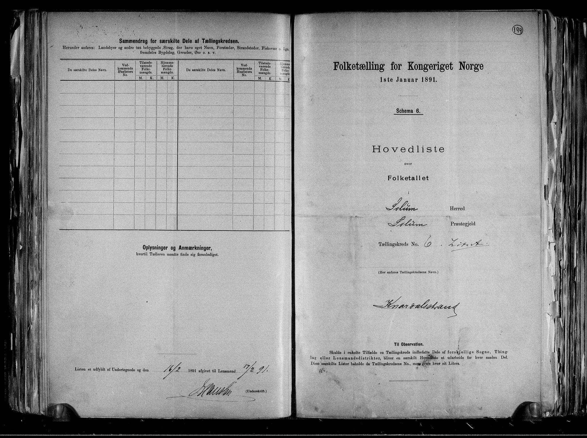 RA, Folketelling 1891 for 0818 Solum herred, 1891, s. 14