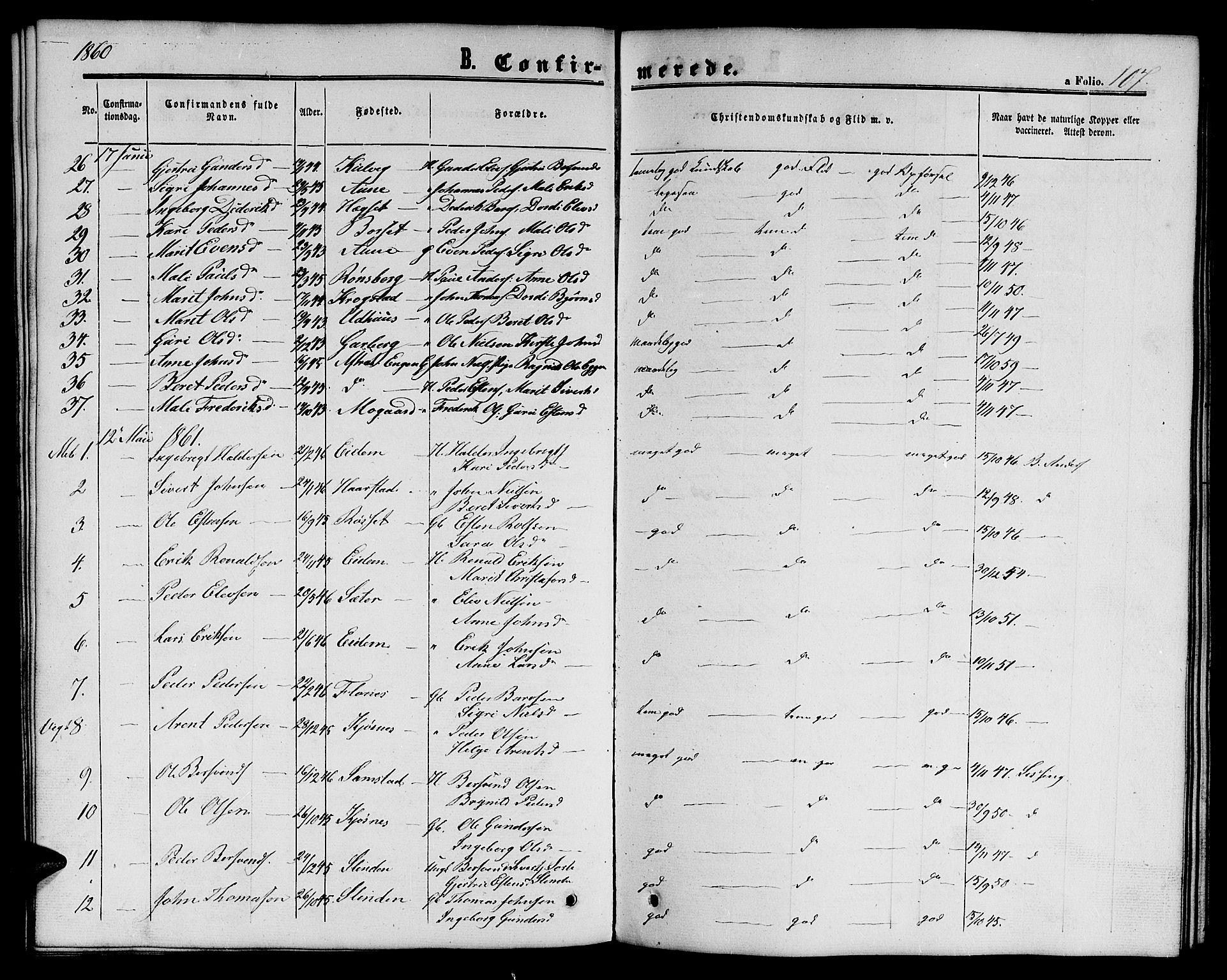 SAT, Ministerialprotokoller, klokkerbøker og fødselsregistre - Sør-Trøndelag, 695/L1155: Klokkerbok nr. 695C06, 1859-1868, s. 107