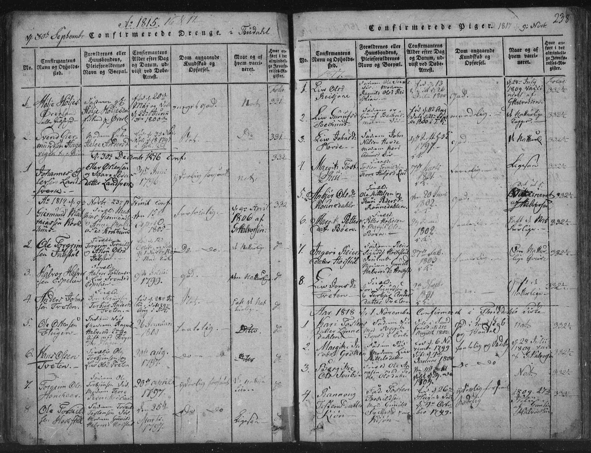 SAKO, Hjartdal kirkebøker, F/Fc/L0001: Ministerialbok nr. III 1, 1815-1843, s. 238