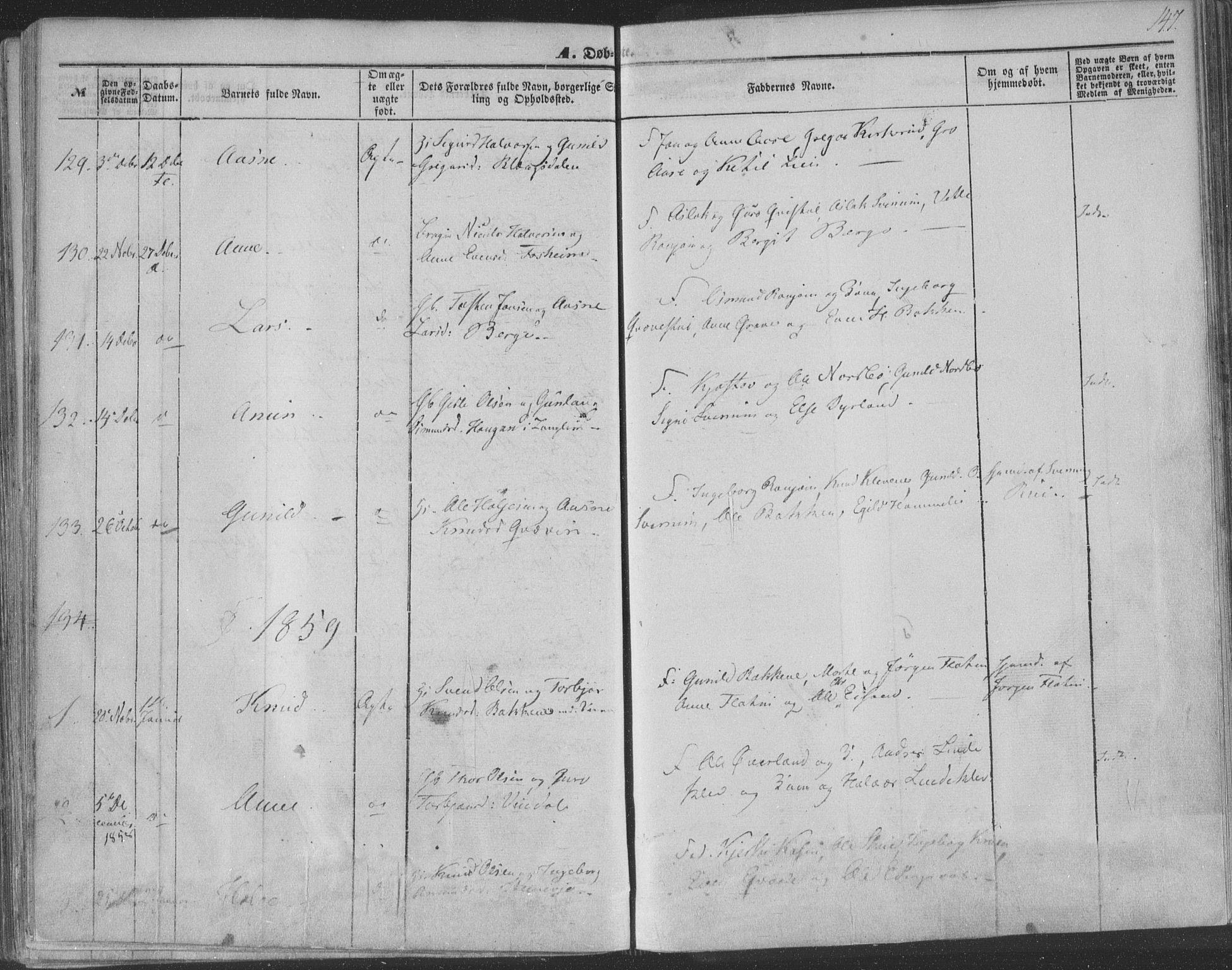SAKO, Seljord kirkebøker, F/Fa/L012a: Ministerialbok nr. I 12A, 1850-1865, s. 147