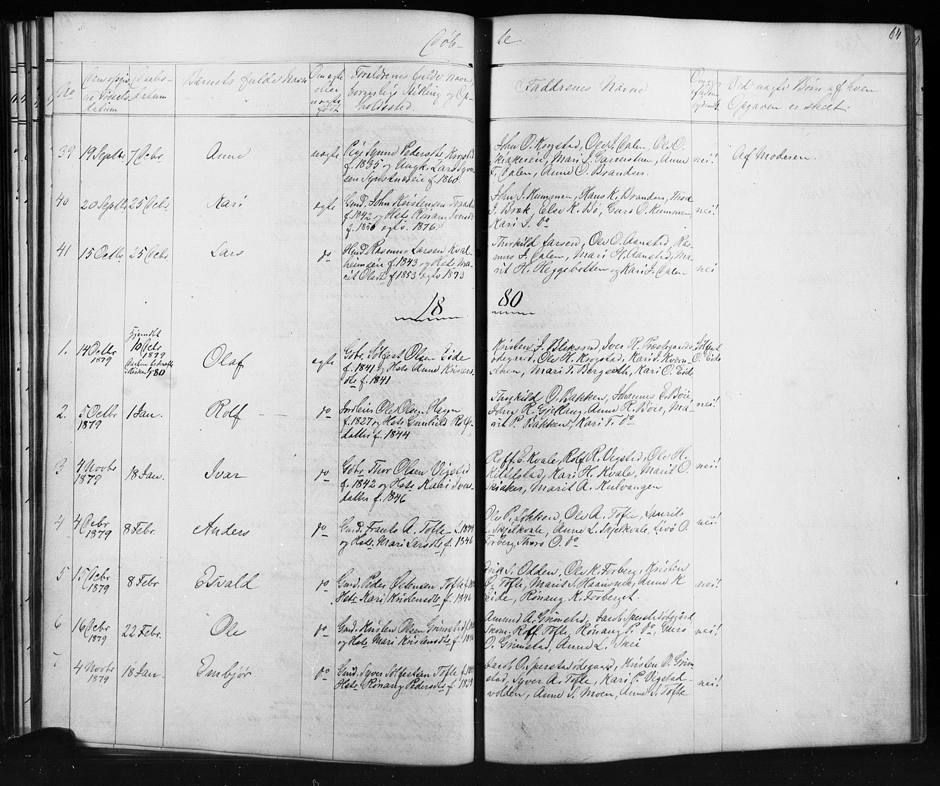SAH, Skjåk prestekontor, Klokkerbok nr. 1, 1865-1893, s. 64