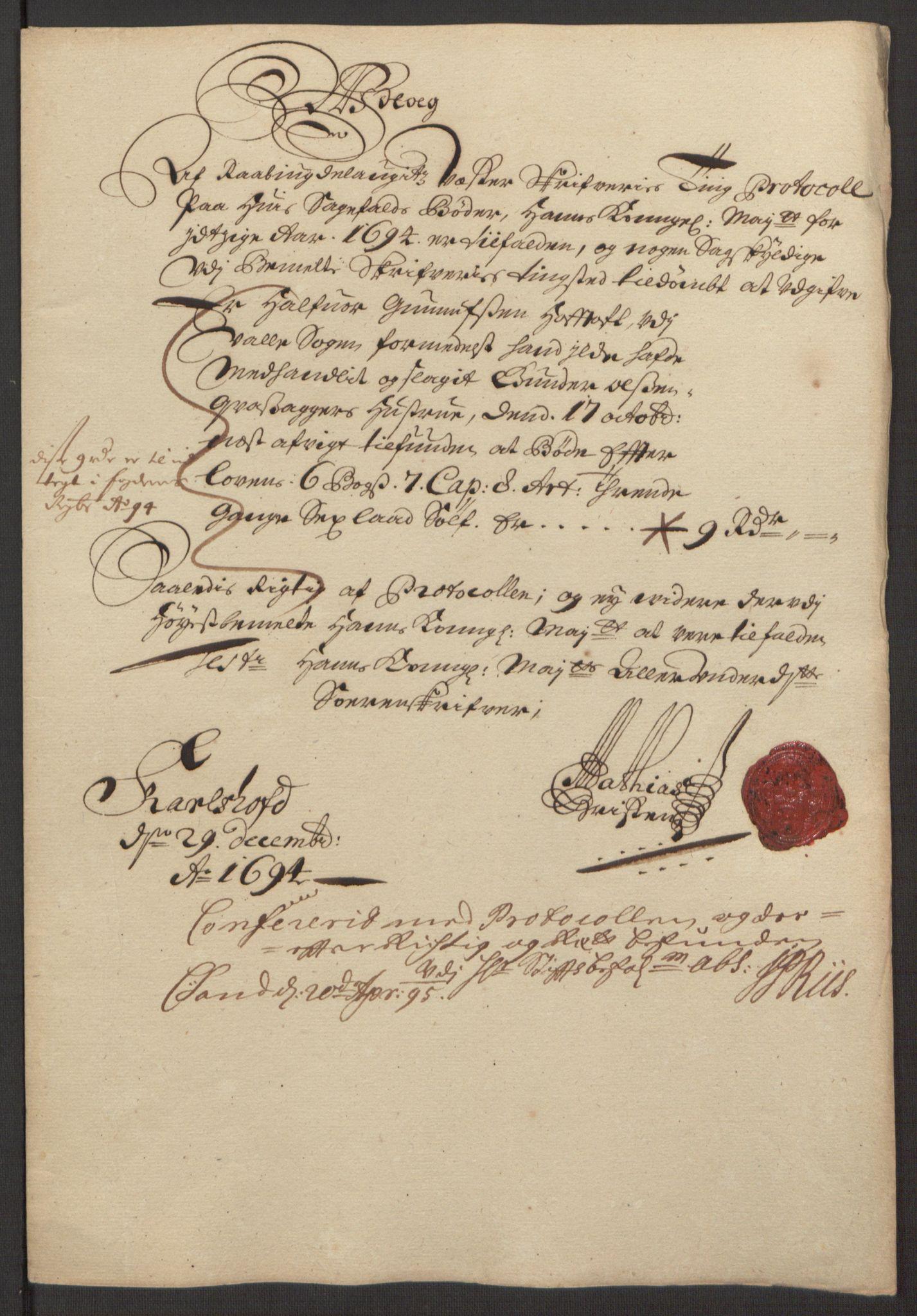 RA, Rentekammeret inntil 1814, Reviderte regnskaper, Fogderegnskap, R40/L2444: Fogderegnskap Råbyggelag, 1693-1696, s. 108