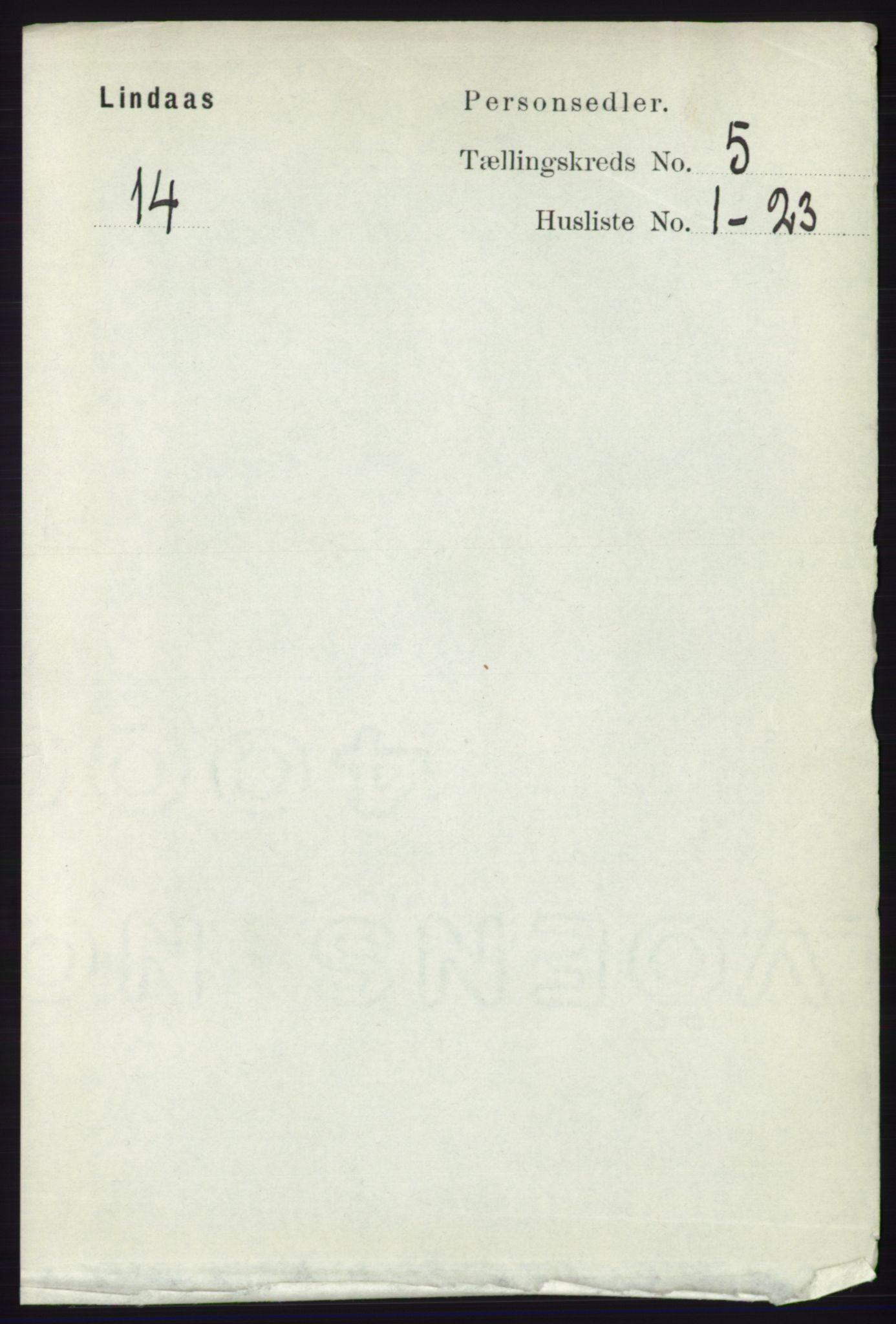 RA, Folketelling 1891 for 1263 Lindås herred, 1891, s. 1444