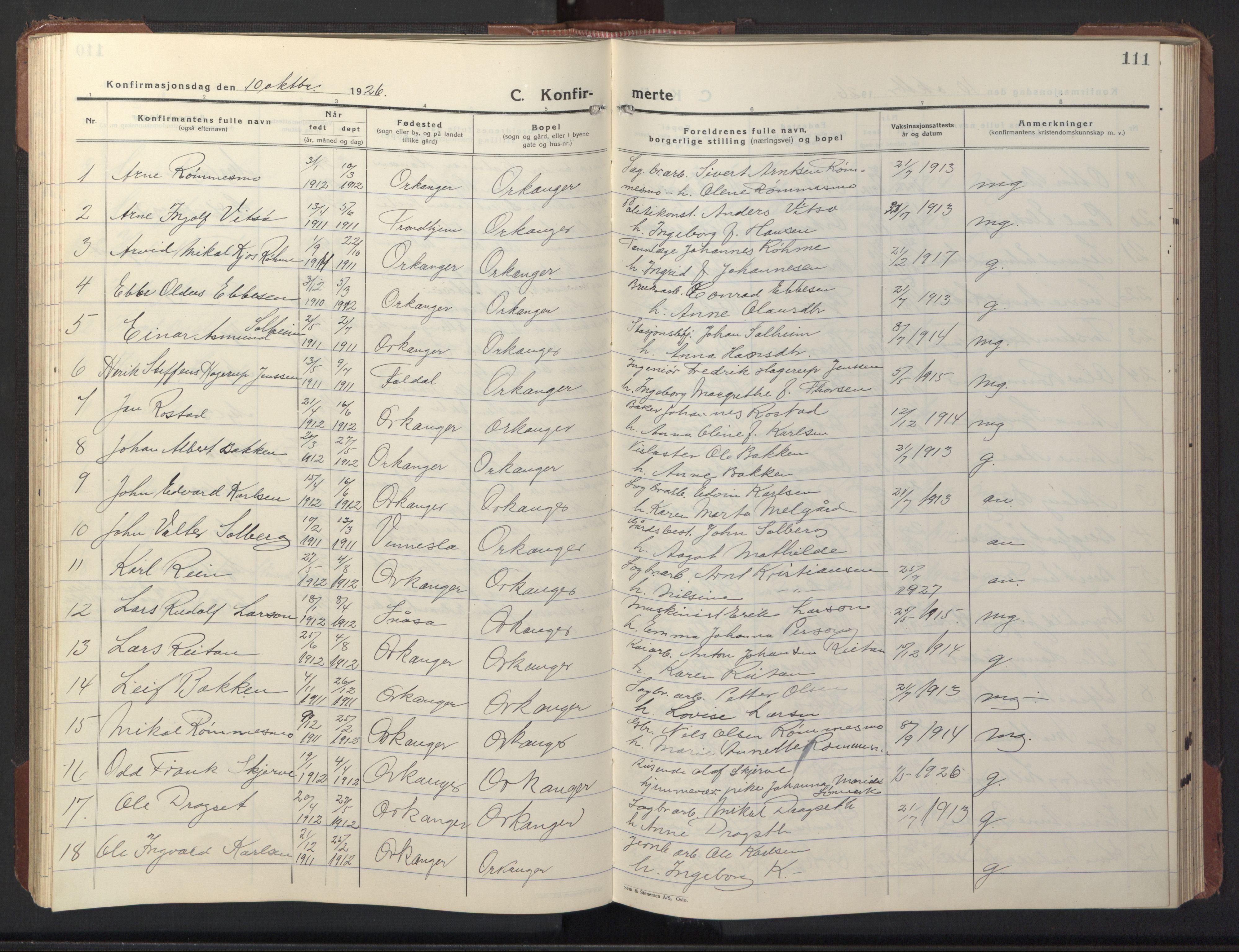 SAT, Ministerialprotokoller, klokkerbøker og fødselsregistre - Sør-Trøndelag, 669/L0832: Klokkerbok nr. 669C02, 1925-1953, s. 111