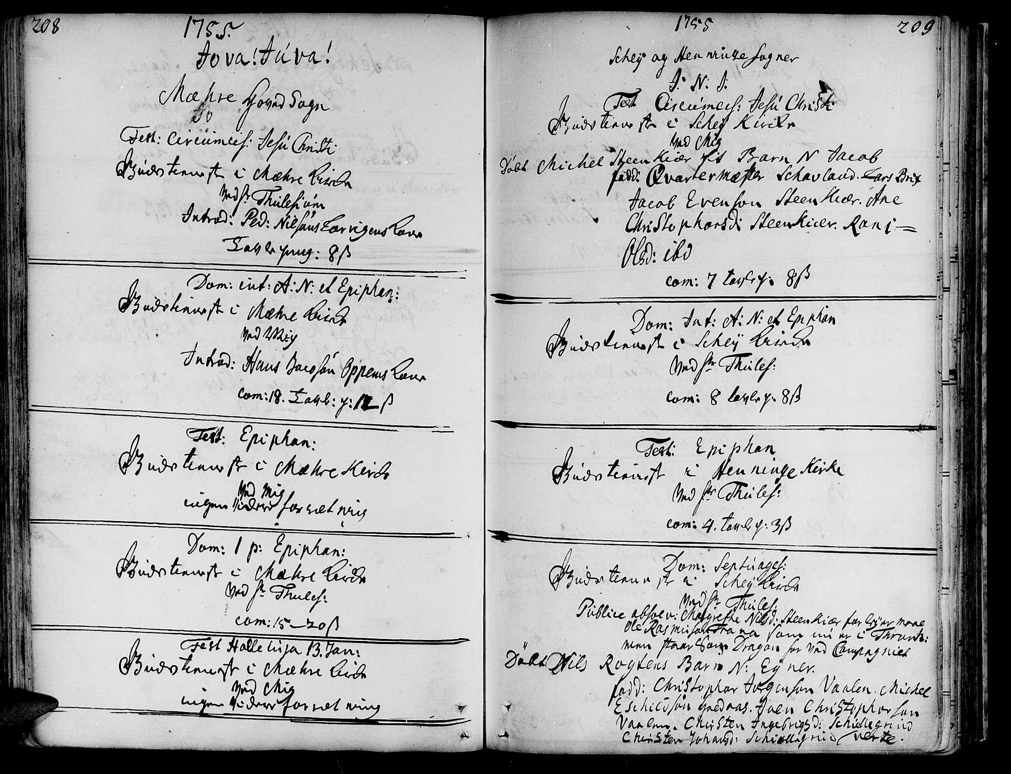 SAT, Ministerialprotokoller, klokkerbøker og fødselsregistre - Nord-Trøndelag, 735/L0330: Ministerialbok nr. 735A01, 1740-1766, s. 208-209