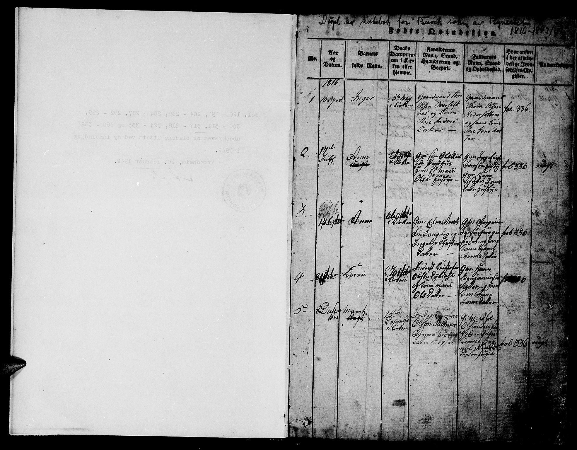 SAT, Ministerialprotokoller, klokkerbøker og fødselsregistre - Sør-Trøndelag, 666/L0788: Klokkerbok nr. 666C01, 1816-1847, s. 1