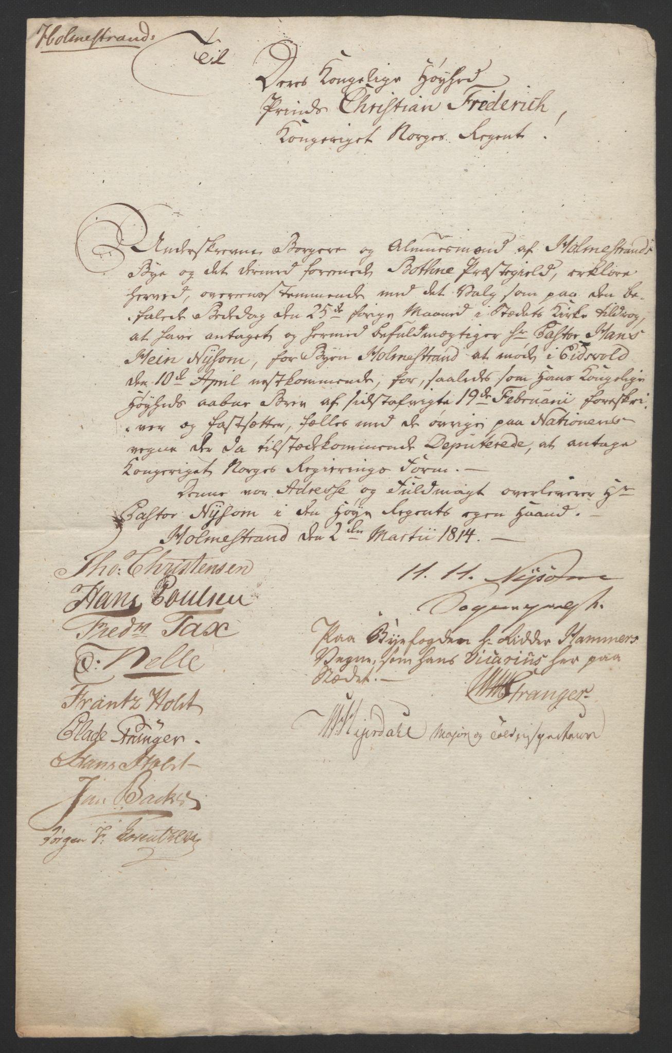 RA, Statsrådssekretariatet, D/Db/L0007: Fullmakter for Eidsvollsrepresentantene i 1814. , 1814, s. 19