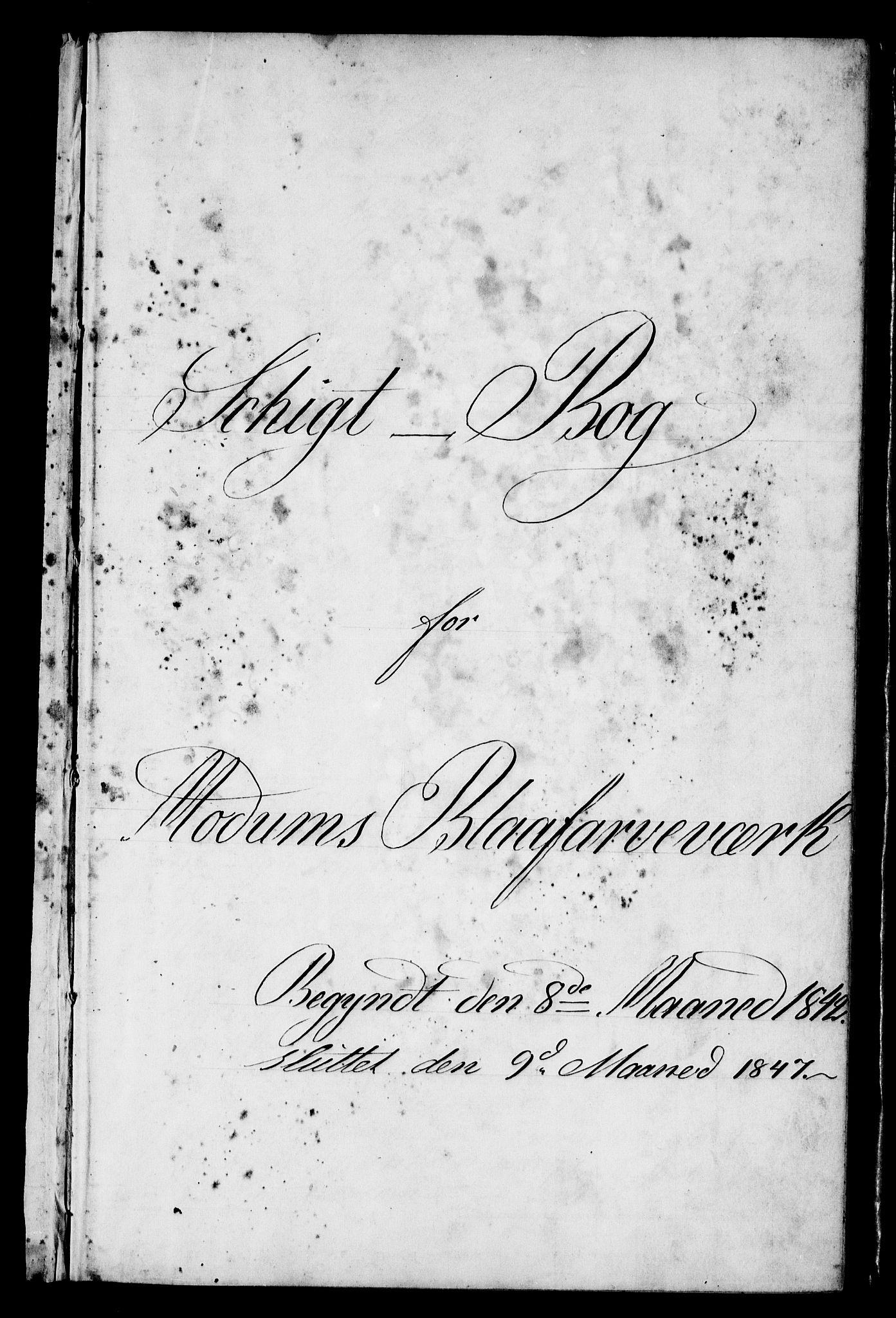 RA, Modums Blaafarveværk, G/Gd/Gdb/L0205: Schigt-Bog ved Modums Blaafarveverk (Regning over utgiftene ved farveverket), 1842-1847, s. 2