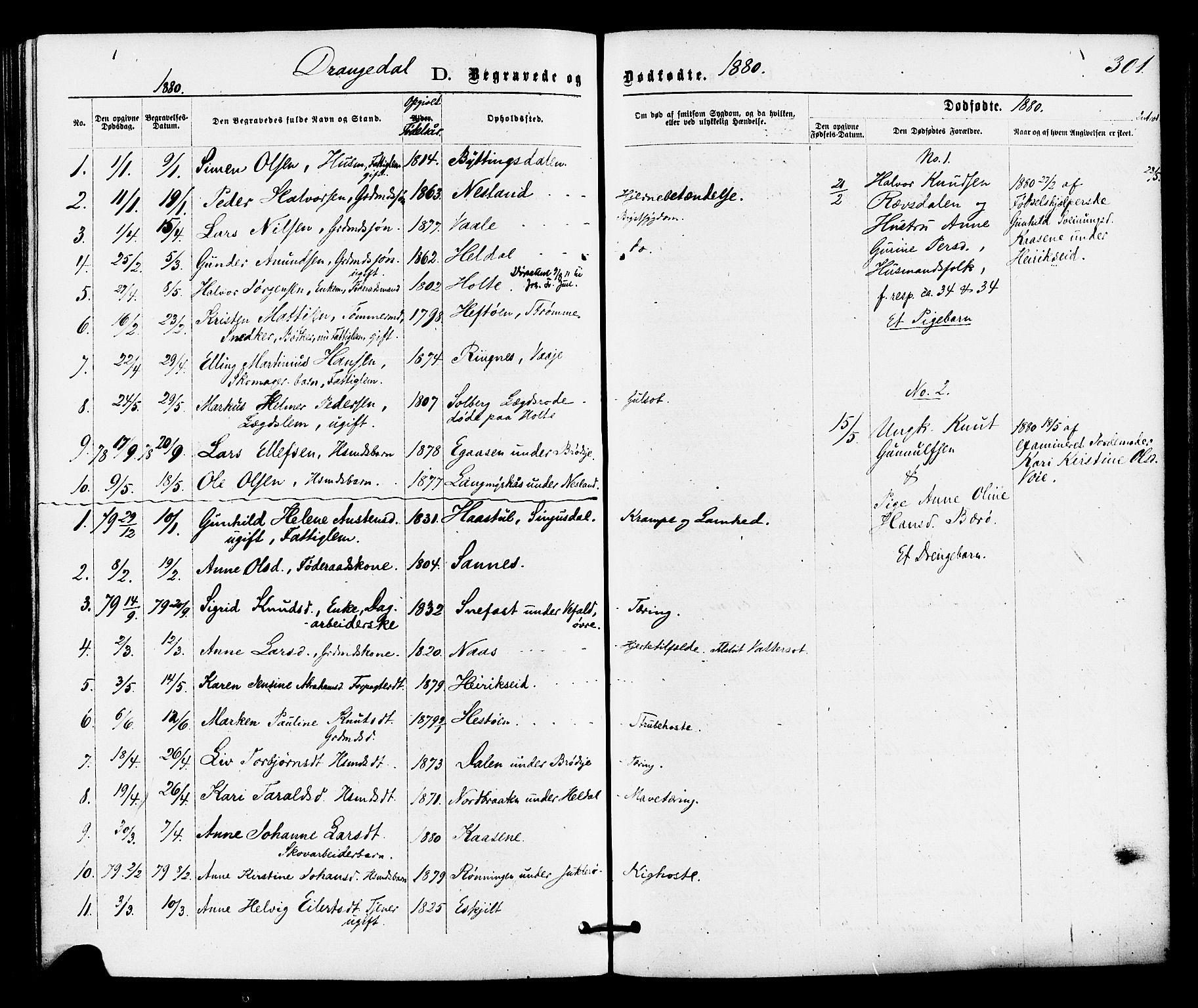 SAKO, Drangedal kirkebøker, F/Fa/L0009: Ministerialbok nr. 9 /1, 1872-1884, s. 301