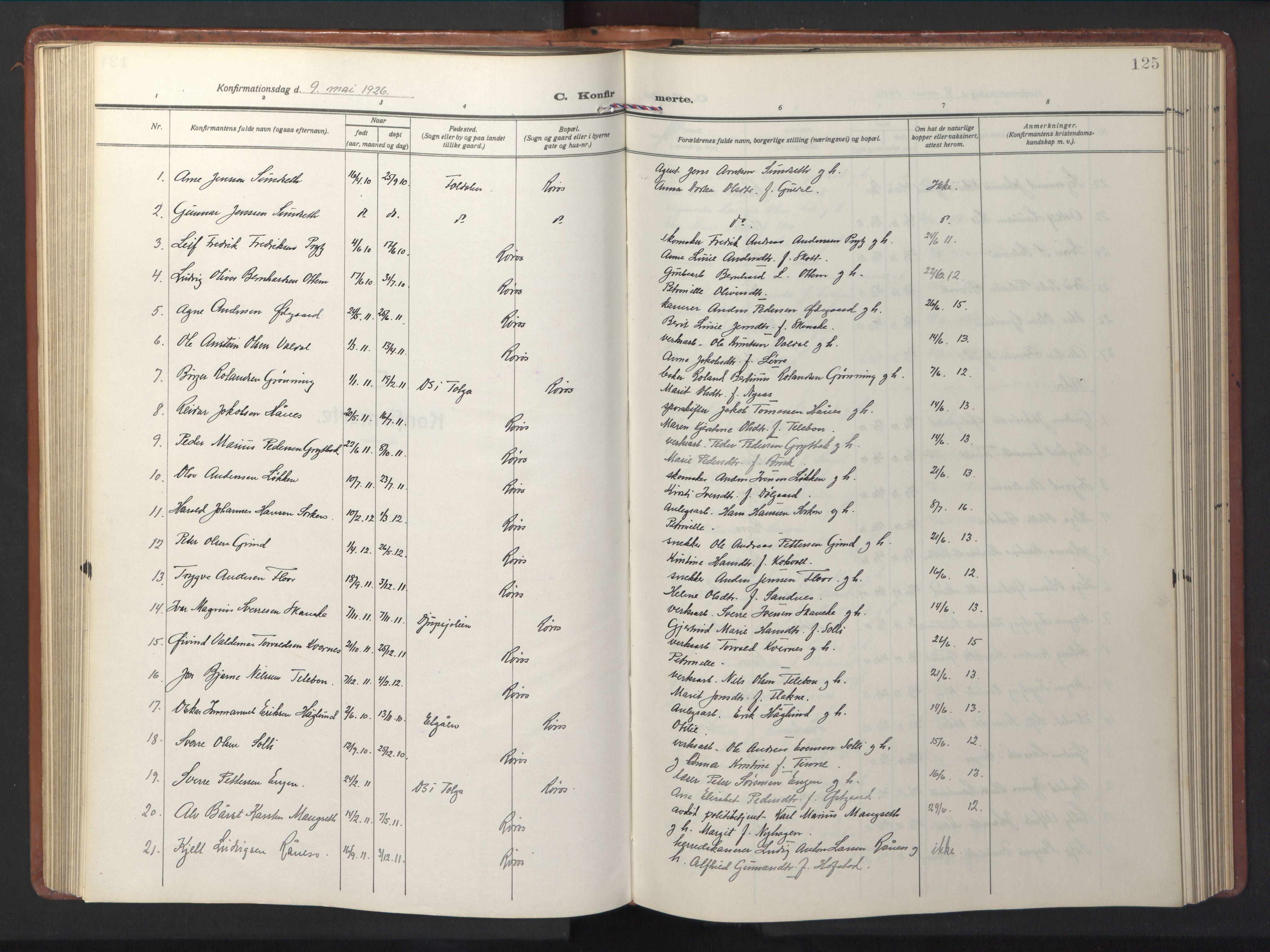 SAT, Ministerialprotokoller, klokkerbøker og fødselsregistre - Sør-Trøndelag, 681/L0943: Klokkerbok nr. 681C07, 1926-1954, s. 125