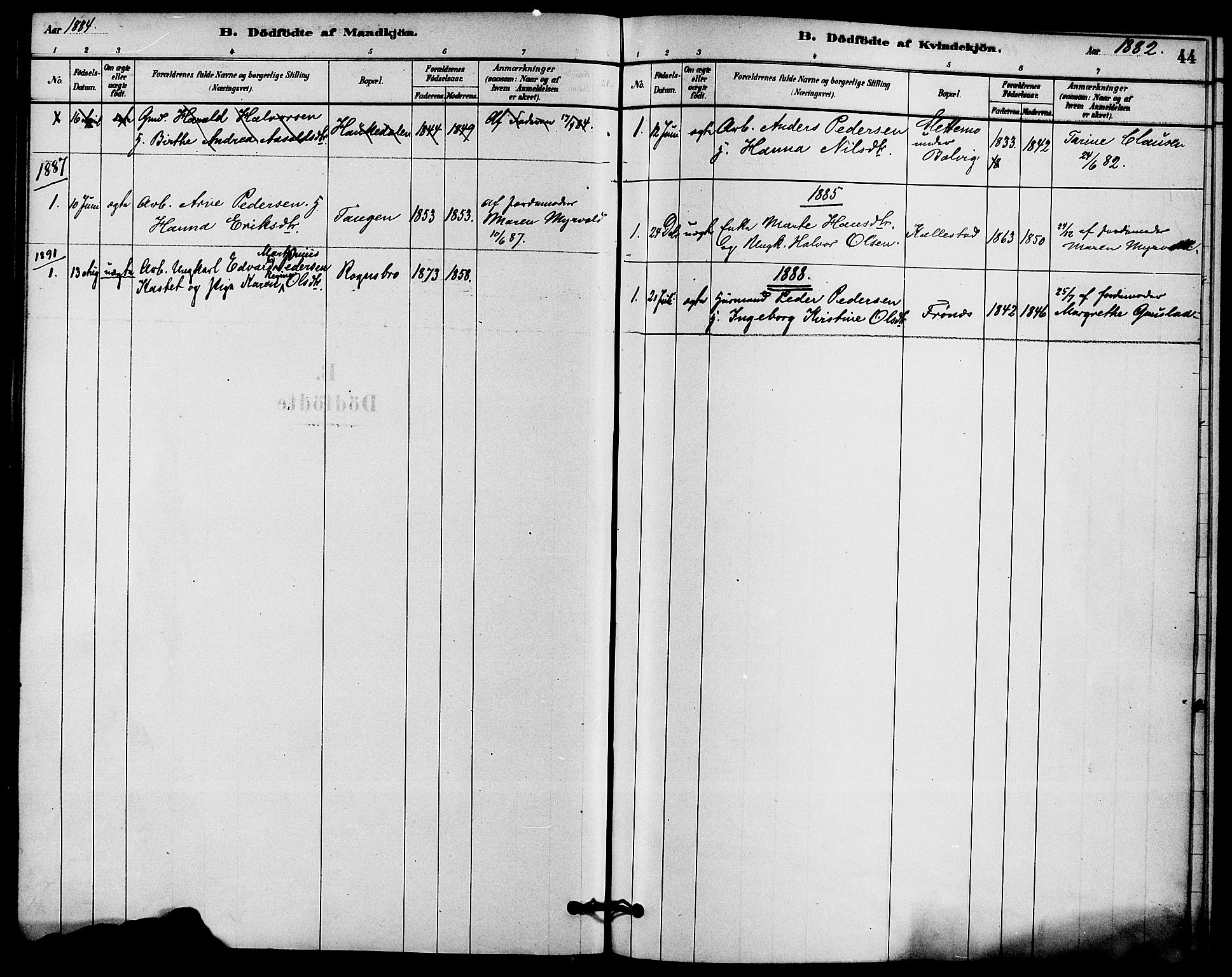 SAKO, Solum kirkebøker, F/Fc/L0001: Ministerialbok nr. III 1, 1877-1891, s. 44