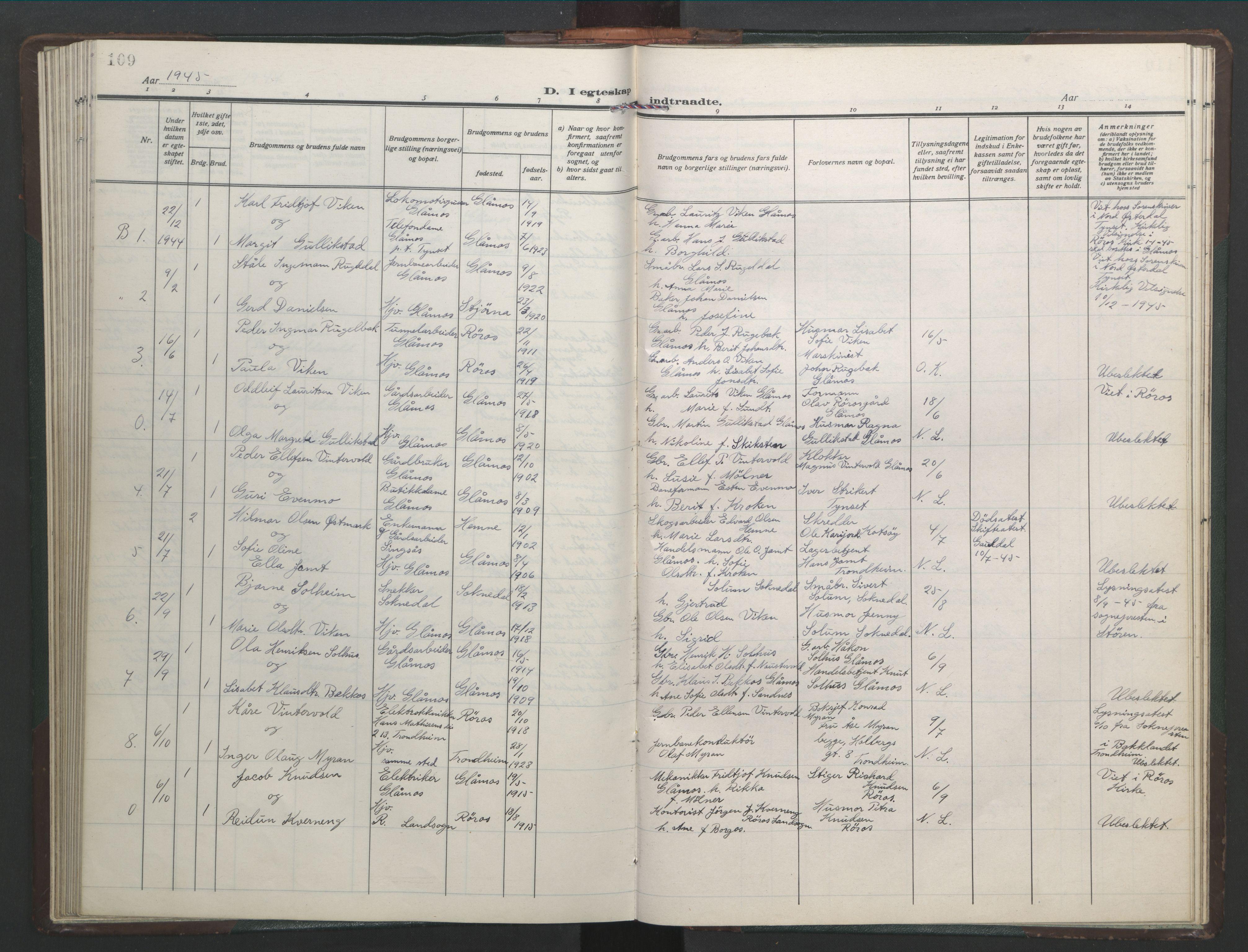 SAT, Ministerialprotokoller, klokkerbøker og fødselsregistre - Sør-Trøndelag, 682/L0947: Klokkerbok nr. 682C01, 1926-1968, s. 109