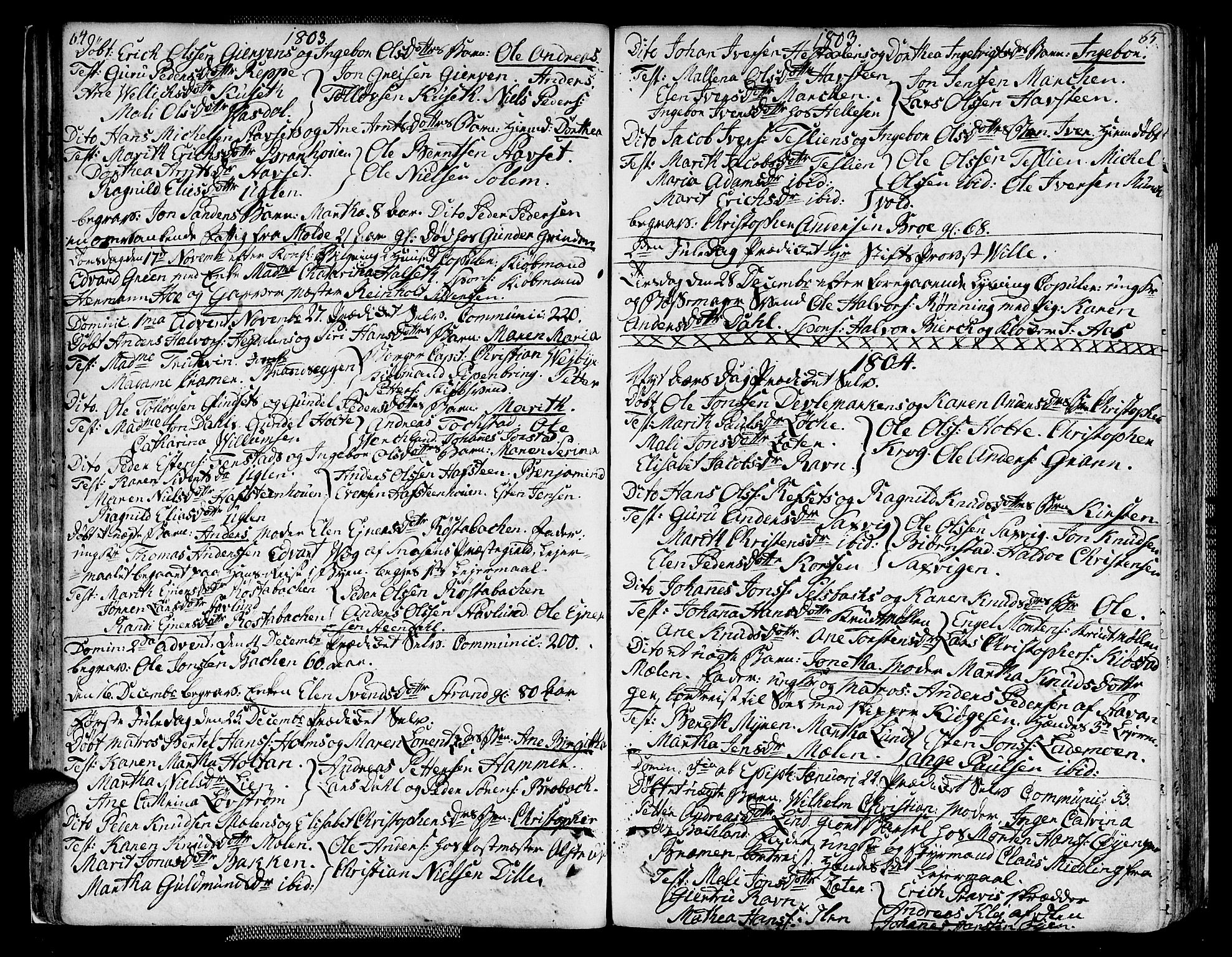 SAT, Ministerialprotokoller, klokkerbøker og fødselsregistre - Sør-Trøndelag, 604/L0181: Ministerialbok nr. 604A02, 1798-1817, s. 64-65