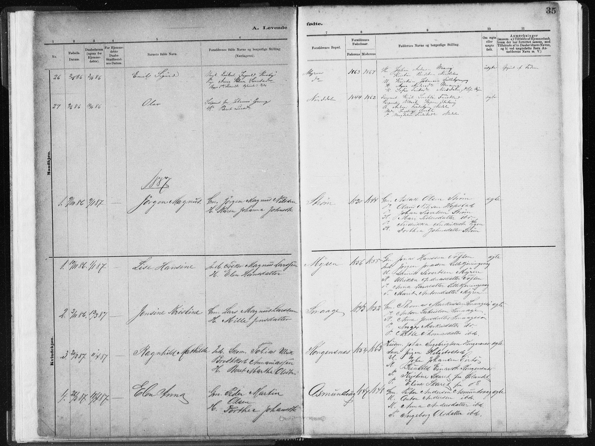 SAT, Ministerialprotokoller, klokkerbøker og fødselsregistre - Sør-Trøndelag, 634/L0533: Ministerialbok nr. 634A09, 1882-1901, s. 35