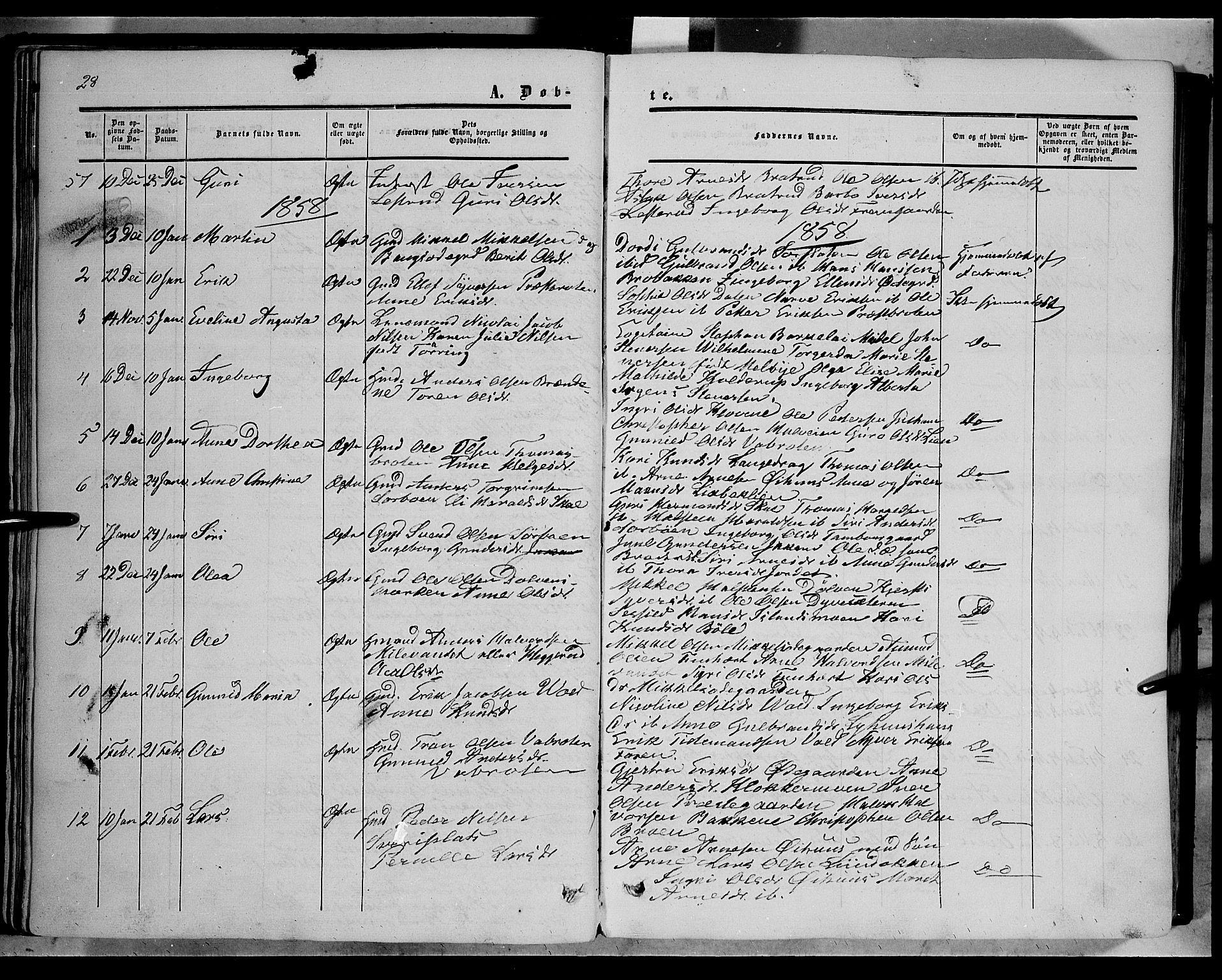 SAH, Sør-Aurdal prestekontor, Ministerialbok nr. 5, 1849-1876, s. 28