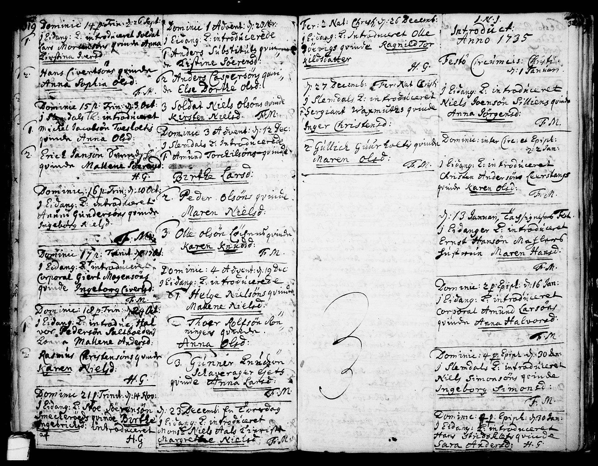 SAKO, Eidanger kirkebøker, F/Fa/L0004: Ministerialbok nr. 4, 1733-1759, s. 319-320
