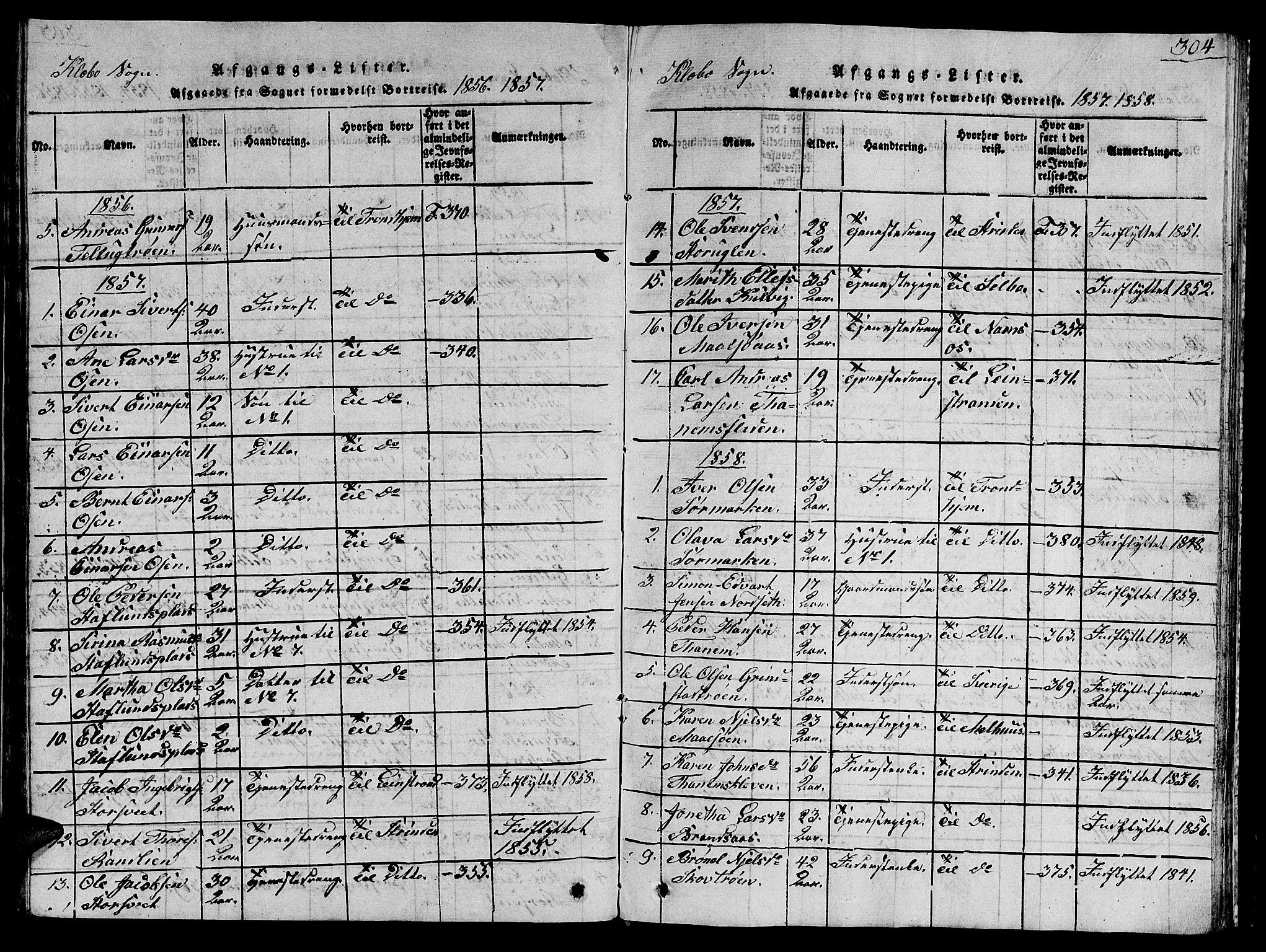 SAT, Ministerialprotokoller, klokkerbøker og fødselsregistre - Sør-Trøndelag, 618/L0450: Klokkerbok nr. 618C01, 1816-1865, s. 304