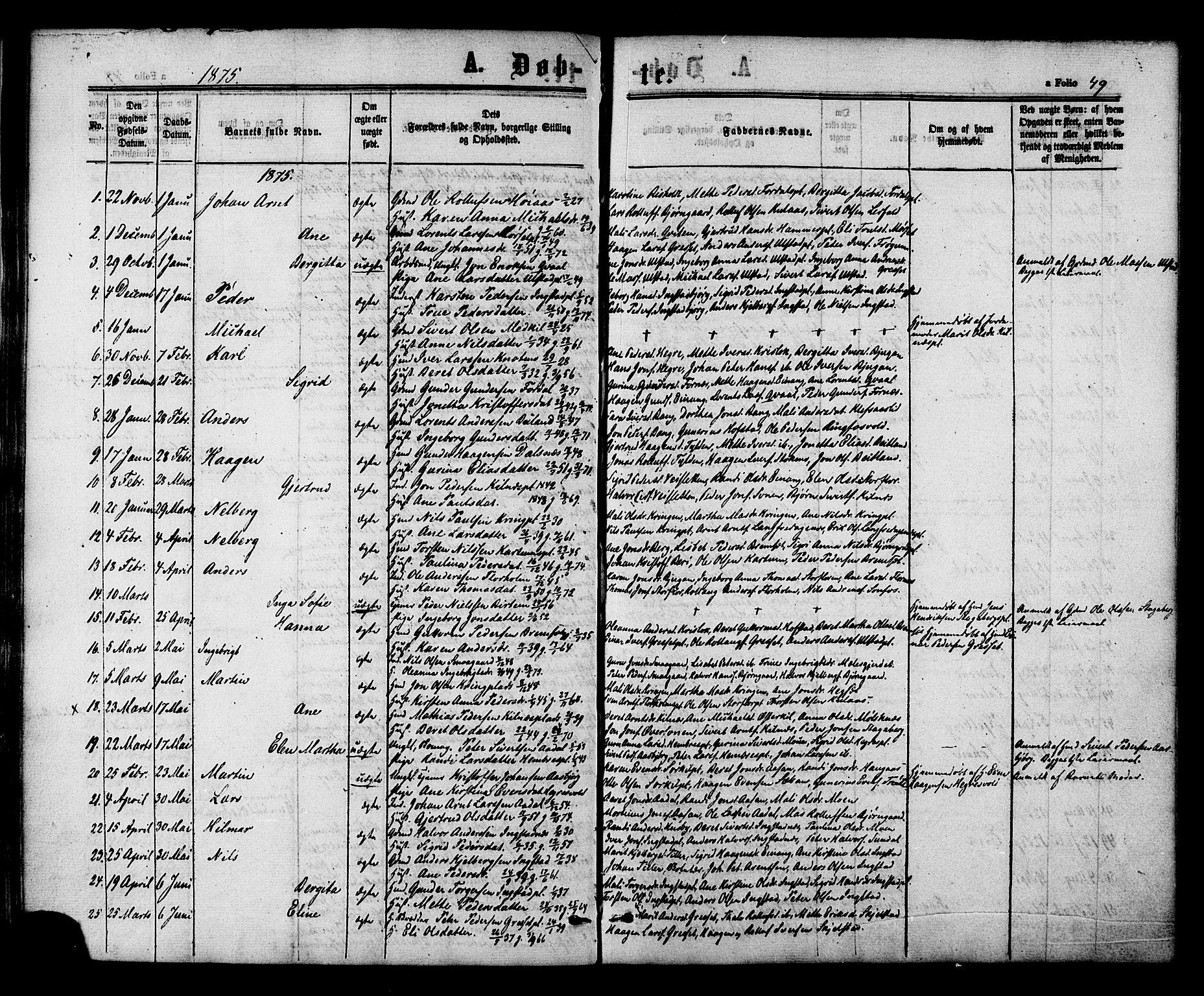 SAT, Ministerialprotokoller, klokkerbøker og fødselsregistre - Nord-Trøndelag, 703/L0029: Ministerialbok nr. 703A02, 1863-1879, s. 49