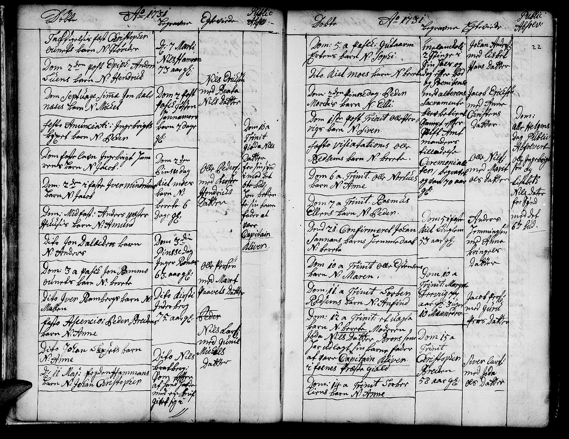 SAT, Ministerialprotokoller, klokkerbøker og fødselsregistre - Nord-Trøndelag, 741/L0385: Ministerialbok nr. 741A01, 1722-1815, s. 22