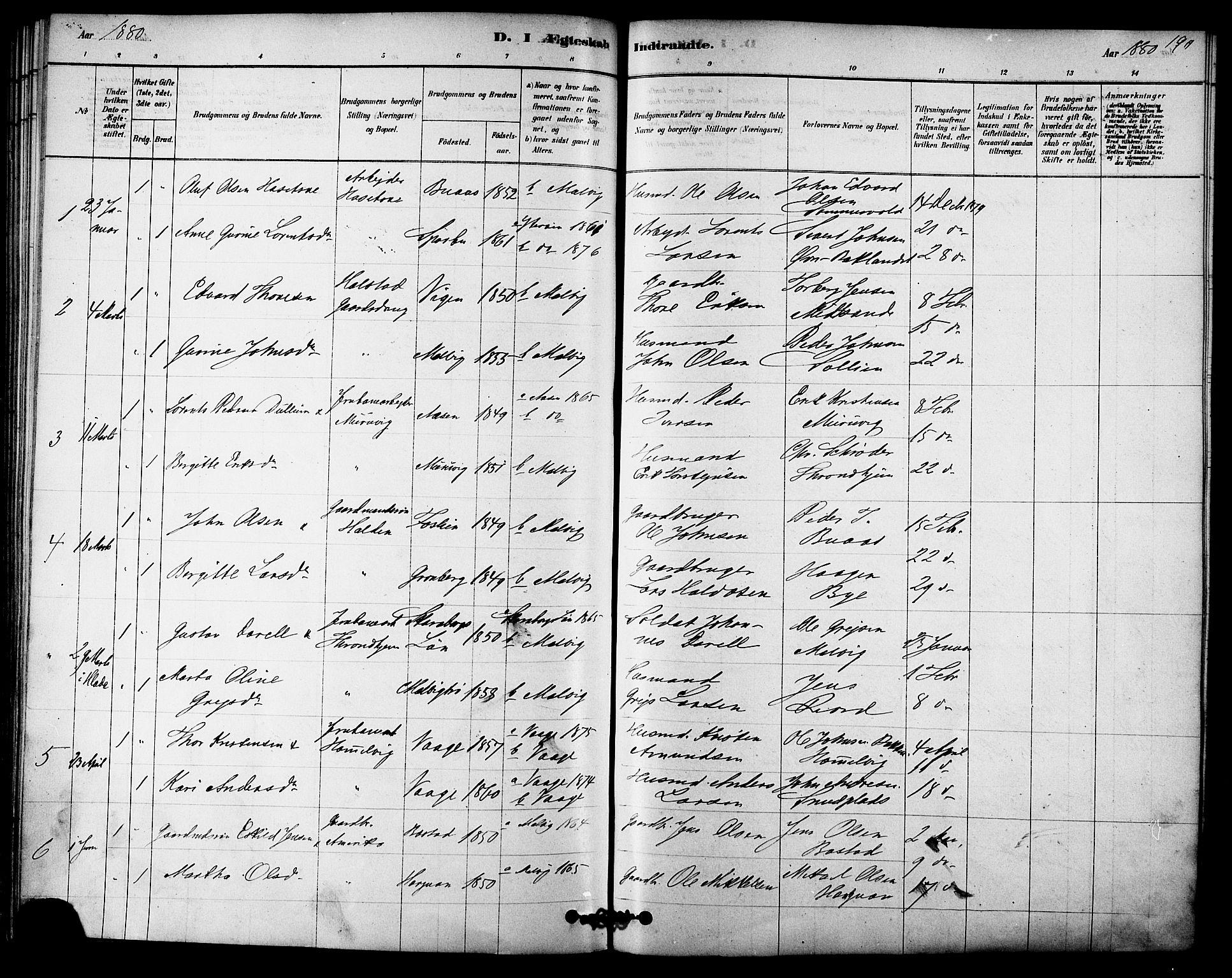 SAT, Ministerialprotokoller, klokkerbøker og fødselsregistre - Sør-Trøndelag, 616/L0410: Ministerialbok nr. 616A07, 1878-1893, s. 190