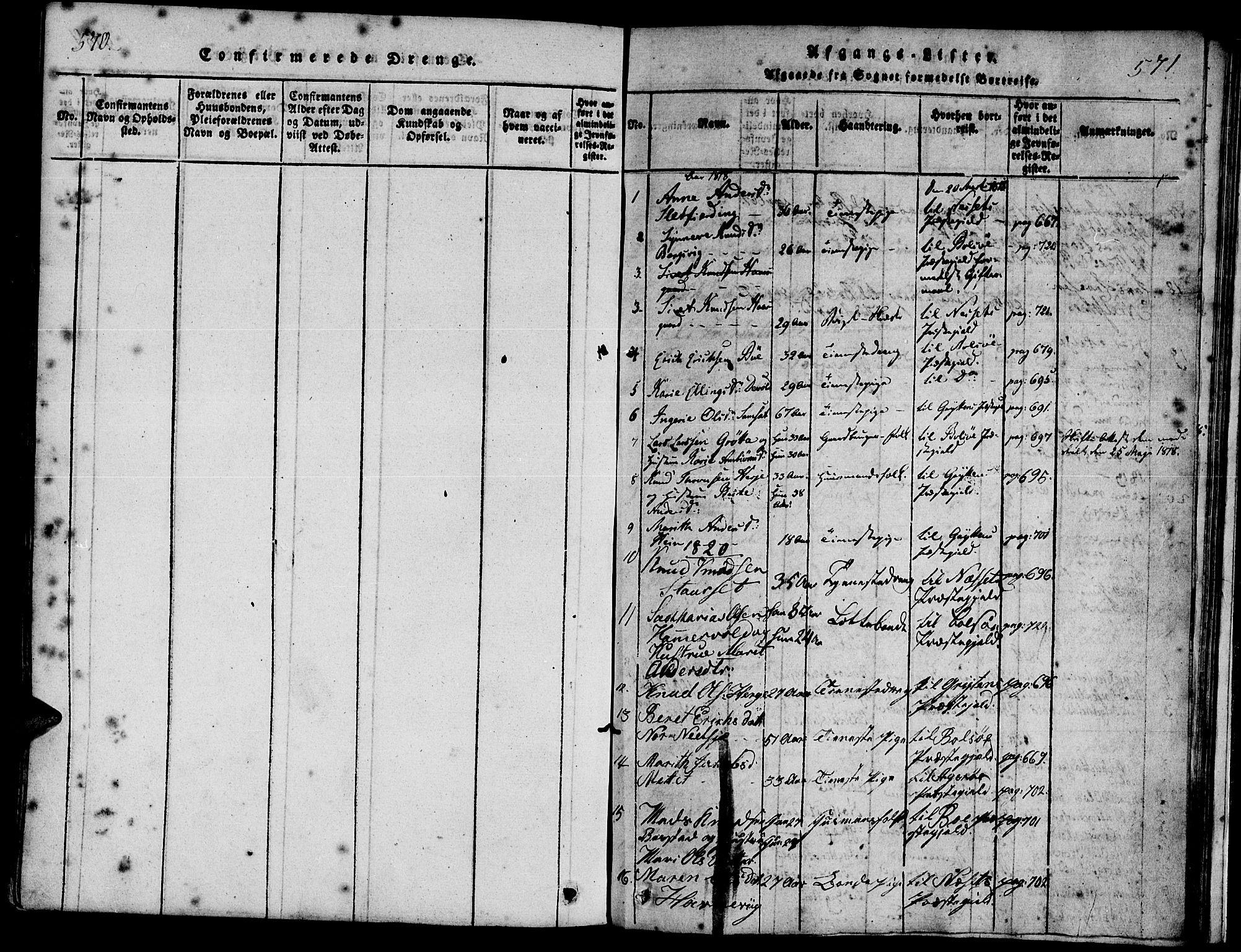 SAT, Ministerialprotokoller, klokkerbøker og fødselsregistre - Møre og Romsdal, 547/L0602: Ministerialbok nr. 547A04, 1818-1845, s. 570-571