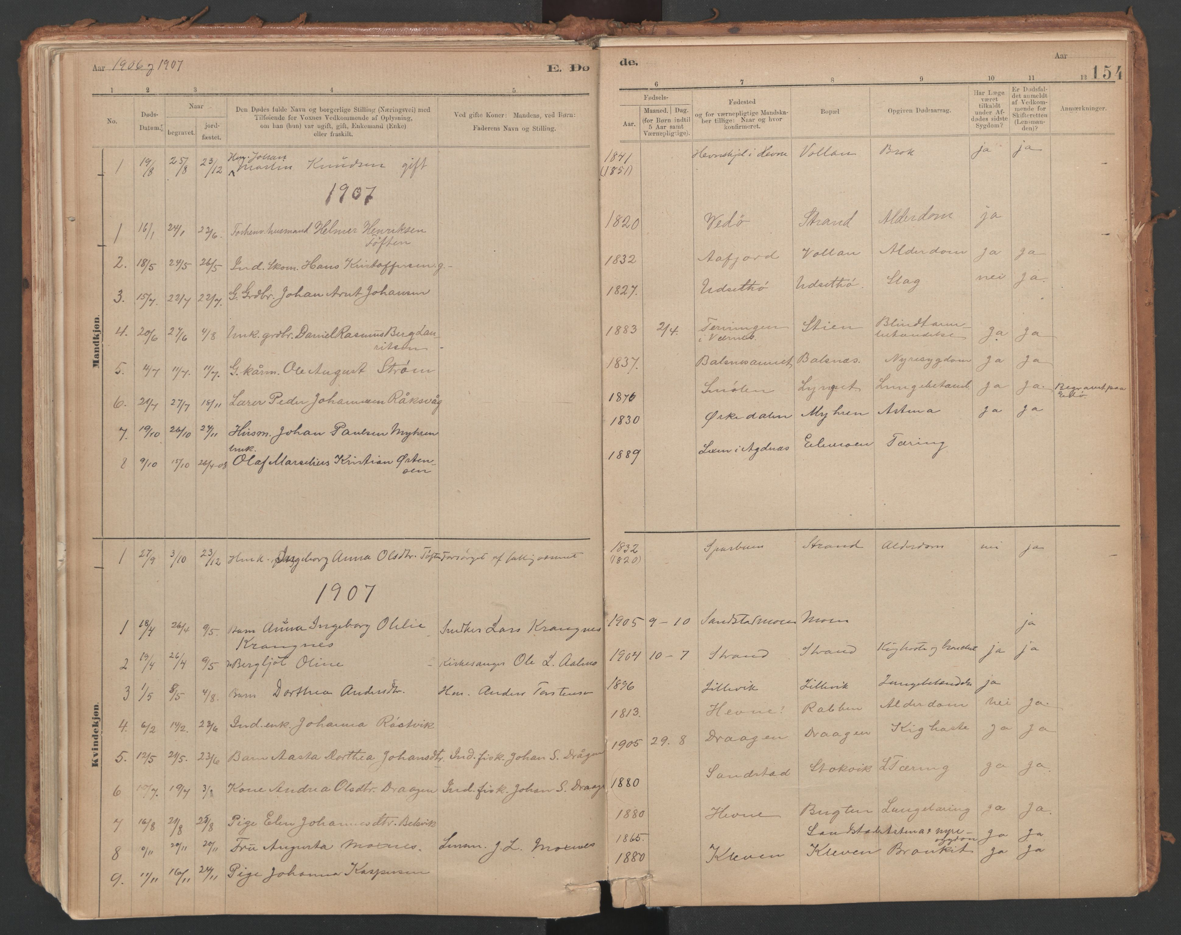 SAT, Ministerialprotokoller, klokkerbøker og fødselsregistre - Sør-Trøndelag, 639/L0572: Ministerialbok nr. 639A01, 1890-1920, s. 154