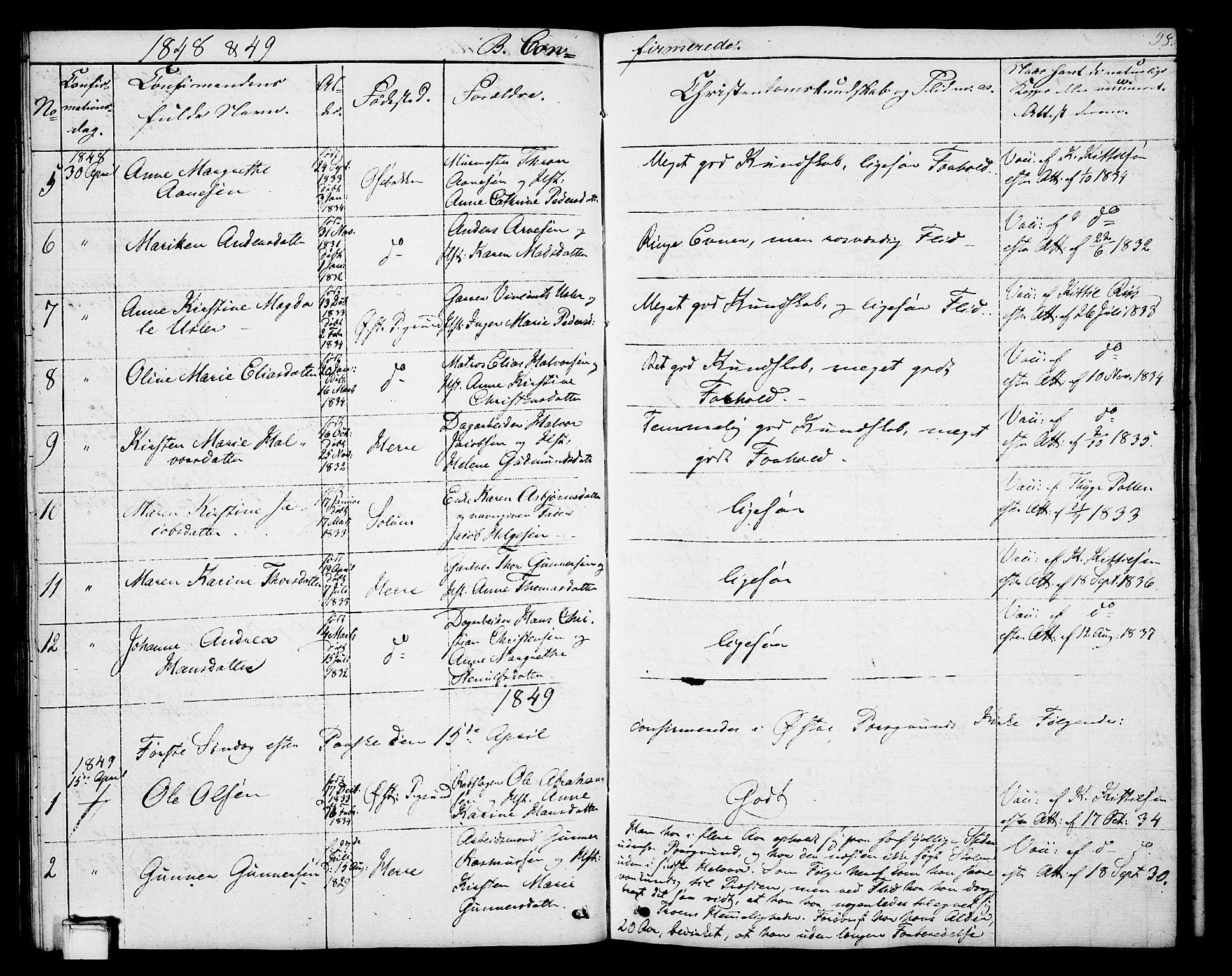SAKO, Porsgrunn kirkebøker , G/Gb/L0003: Klokkerbok nr. II 3, 1841-1852, s. 98