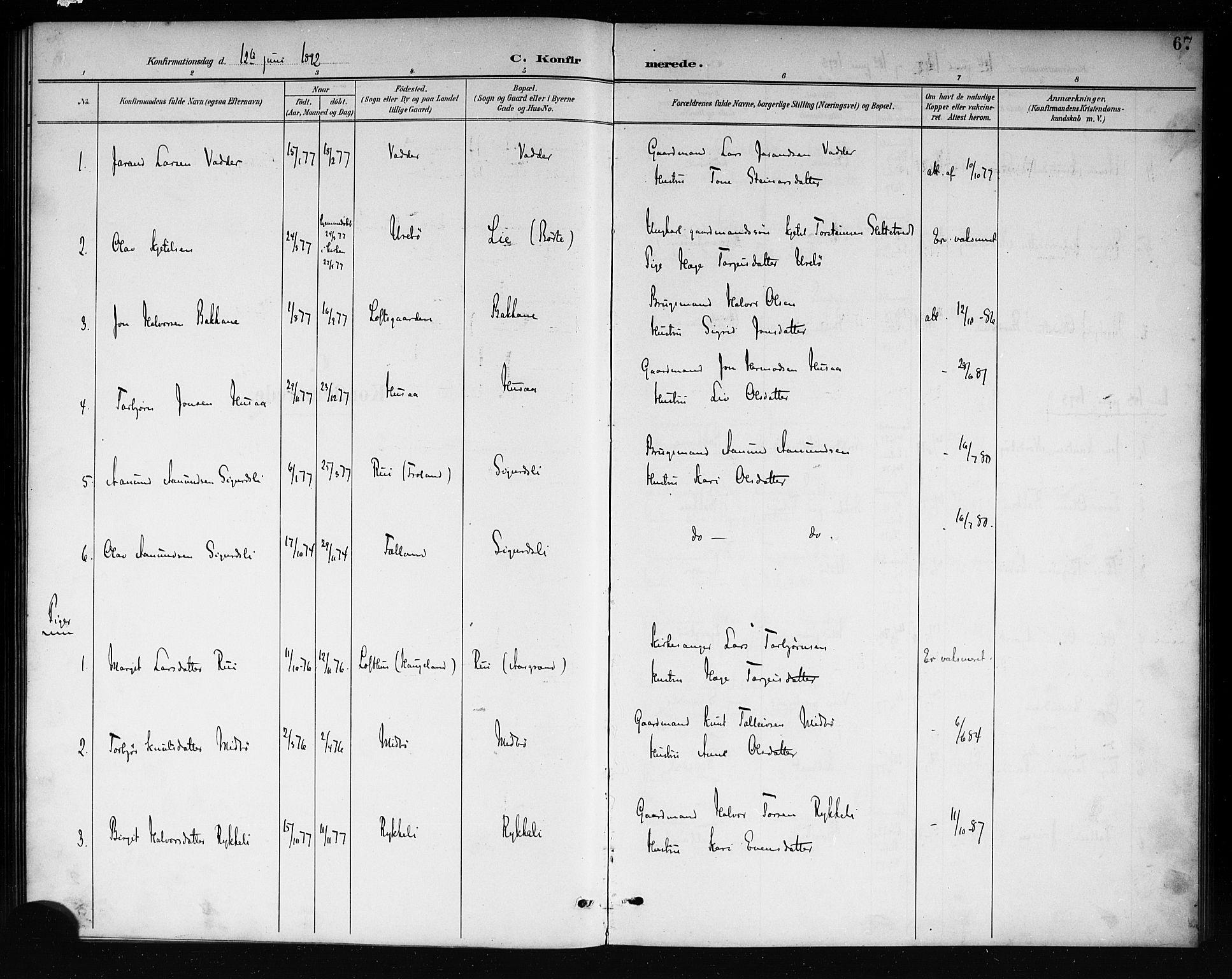 SAKO, Mo kirkebøker, G/Ga/L0002: Klokkerbok nr. I 2, 1892-1914, s. 67