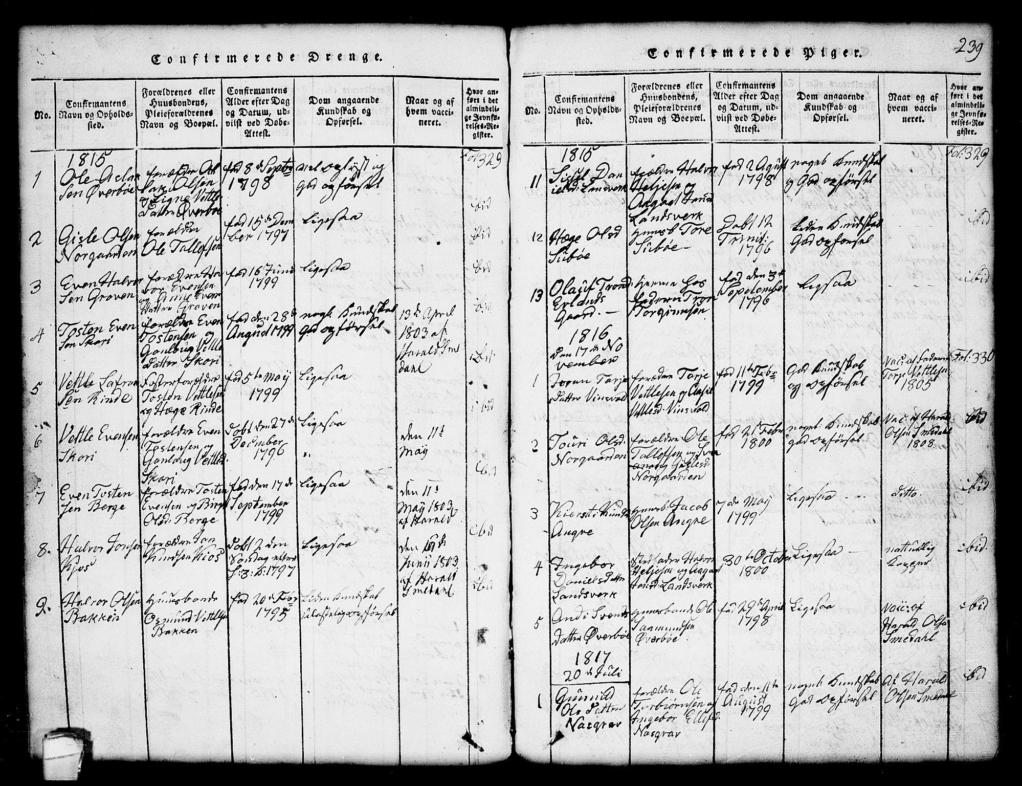 SAKO, Seljord kirkebøker, G/Gc/L0001: Klokkerbok nr. III 1, 1815-1849, s. 239