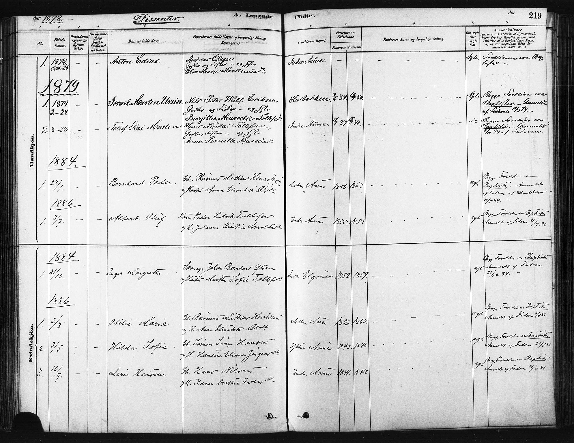 SATØ, Trondenes sokneprestkontor, H/Ha/L0014kirke: Ministerialbok nr. 14, 1878-1889, s. 219