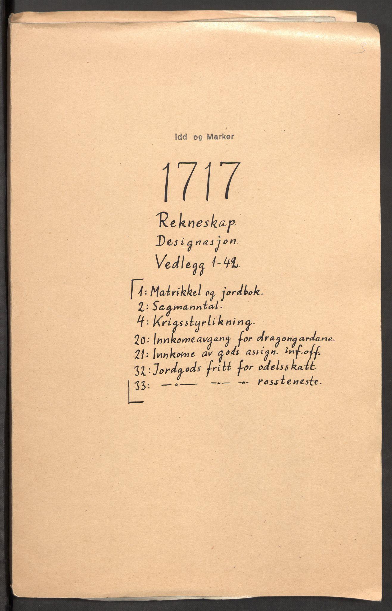 RA, Rentekammeret inntil 1814, Reviderte regnskaper, Fogderegnskap, R01/L0024: Fogderegnskap Idd og Marker, 1717-1718, s. 2