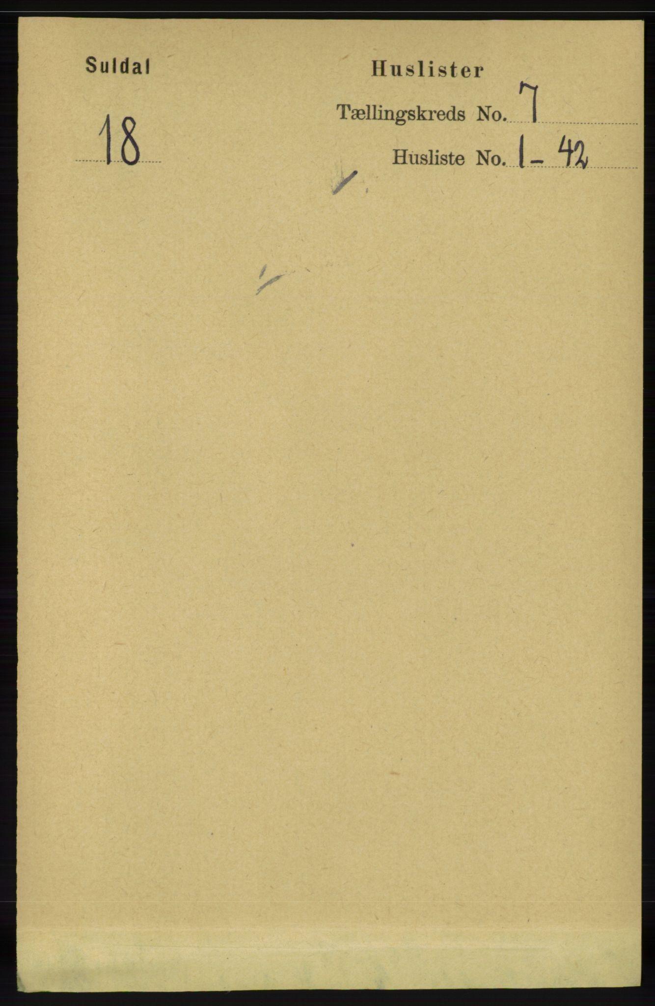 RA, Folketelling 1891 for 1134 Suldal herred, 1891, s. 1938