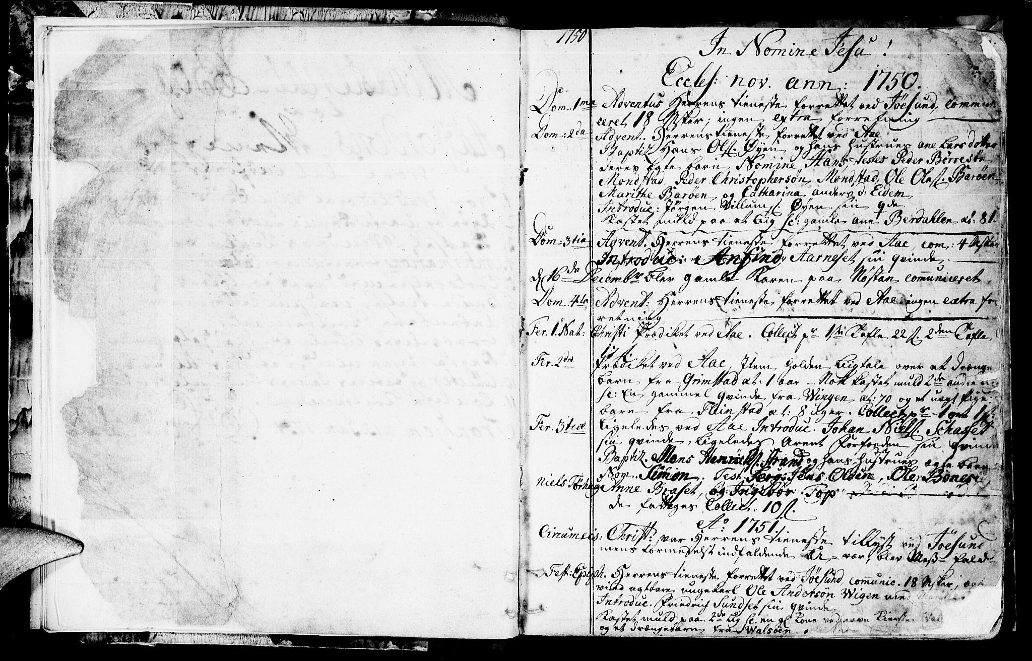 SAT, Ministerialprotokoller, klokkerbøker og fødselsregistre - Sør-Trøndelag, 655/L0672: Ministerialbok nr. 655A01, 1750-1779, s. 2-3