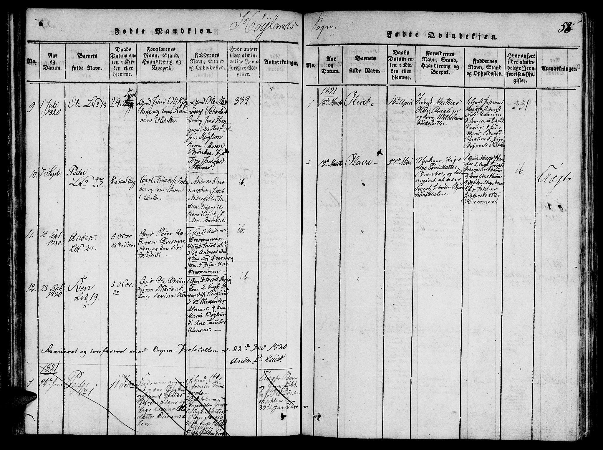 SAT, Ministerialprotokoller, klokkerbøker og fødselsregistre - Nord-Trøndelag, 764/L0546: Ministerialbok nr. 764A06 /3, 1817-1821, s. 58