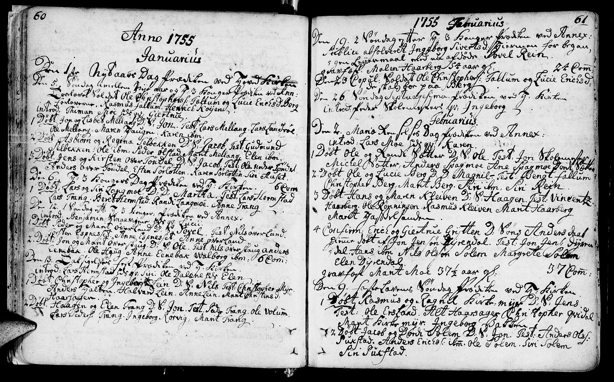 SAT, Ministerialprotokoller, klokkerbøker og fødselsregistre - Sør-Trøndelag, 646/L0605: Ministerialbok nr. 646A03, 1751-1790, s. 60-61