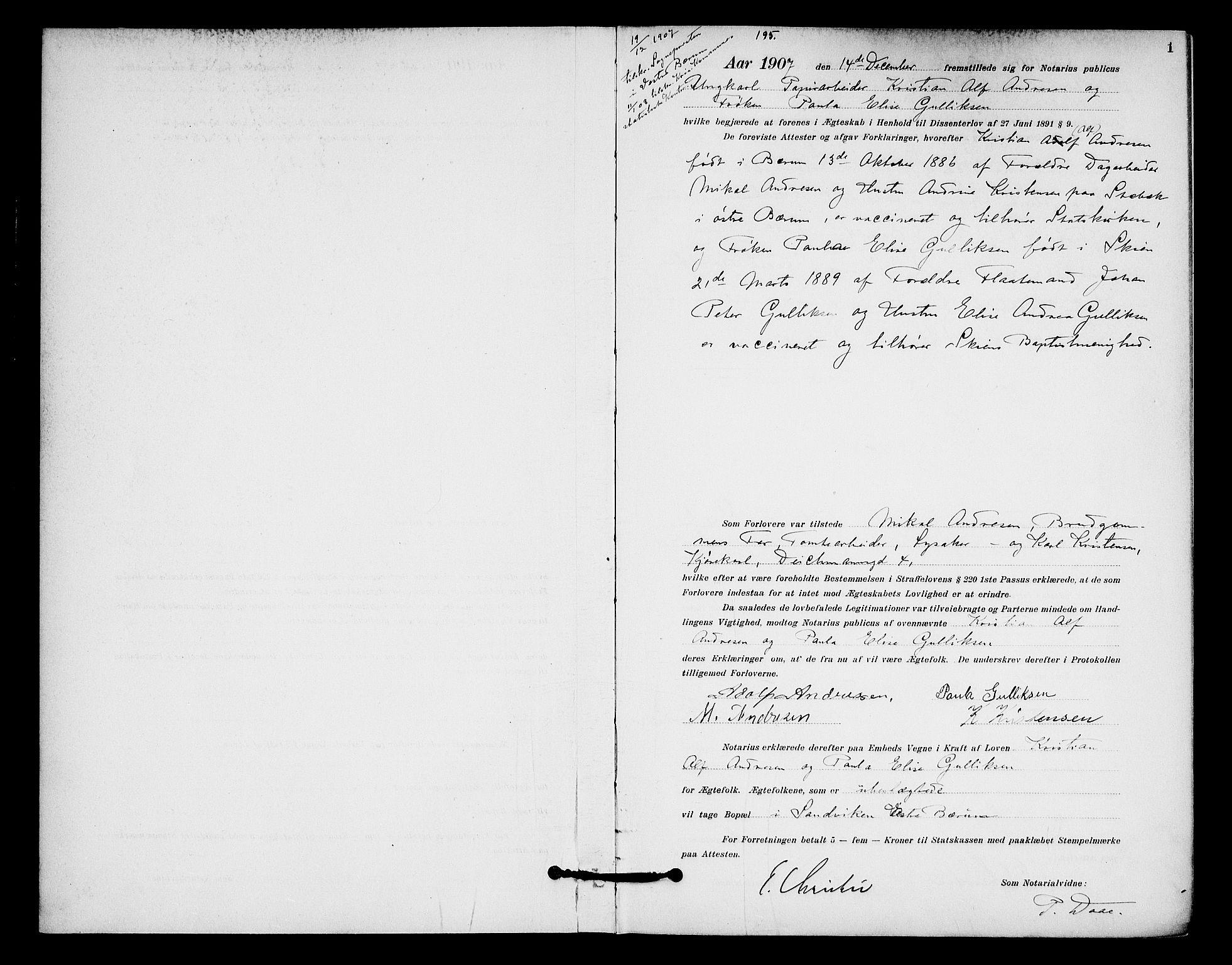 SAO, Oslo byfogd avd. I, L/Lb/Lbb/L0007: Notarialprotokoll, rekke II: Vigsler, 1907-1911, s. 1a