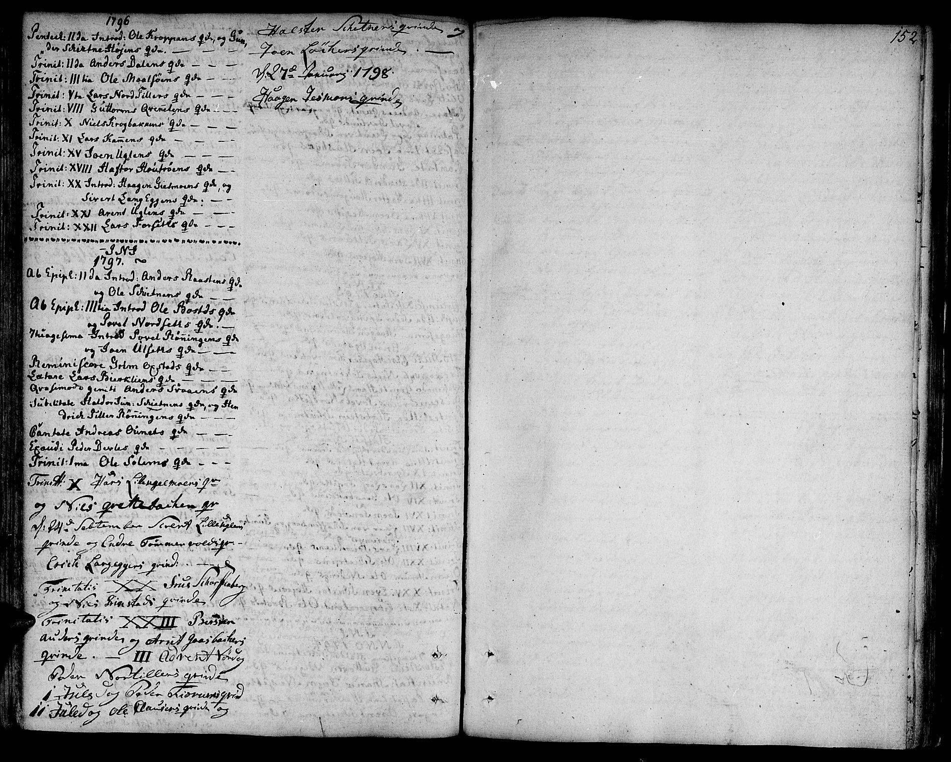 SAT, Ministerialprotokoller, klokkerbøker og fødselsregistre - Sør-Trøndelag, 618/L0438: Ministerialbok nr. 618A03, 1783-1815, s. 152