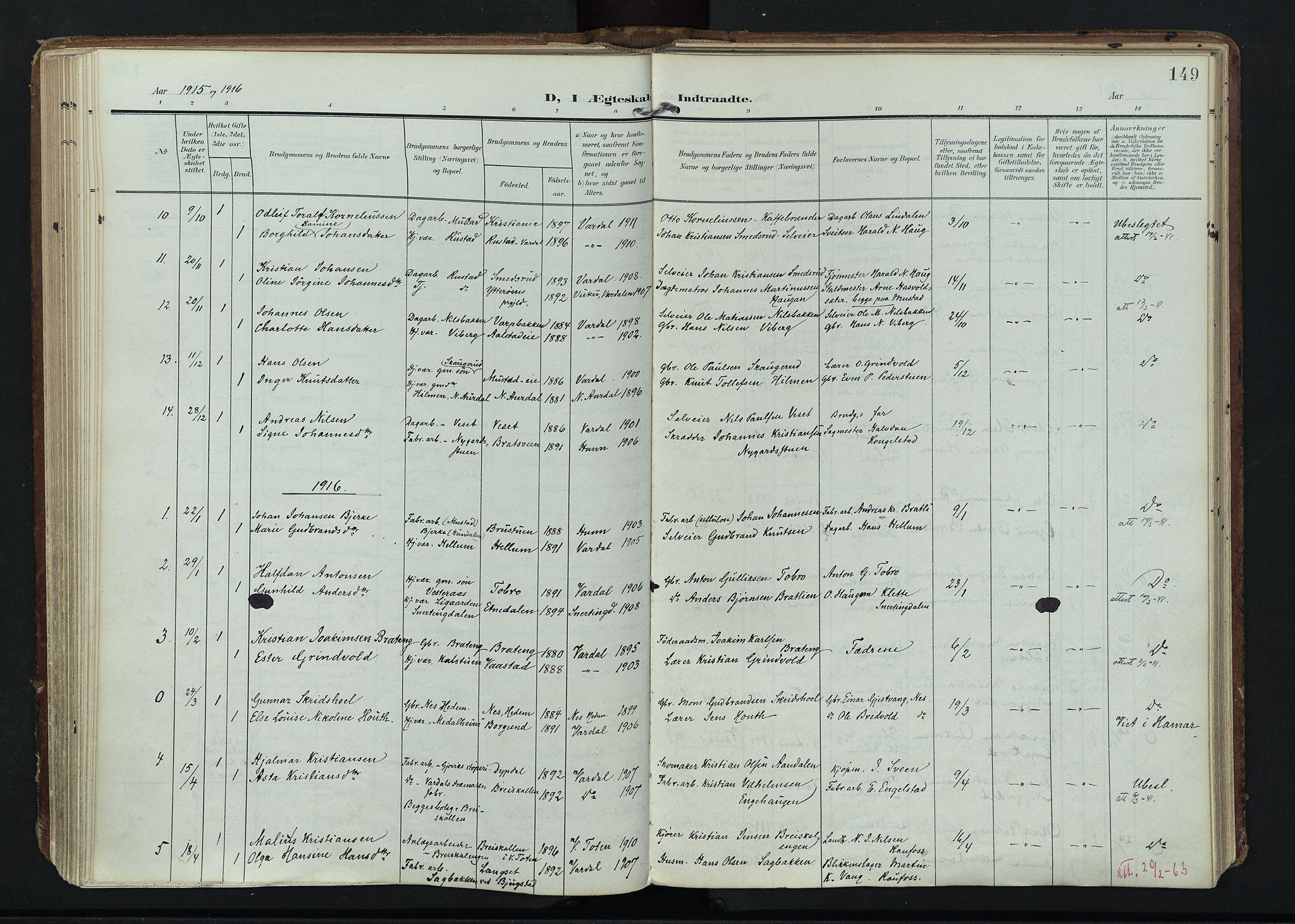 SAH, Vardal prestekontor, H/Ha/Haa/L0020: Ministerialbok nr. 20, 1907-1921, s. 149