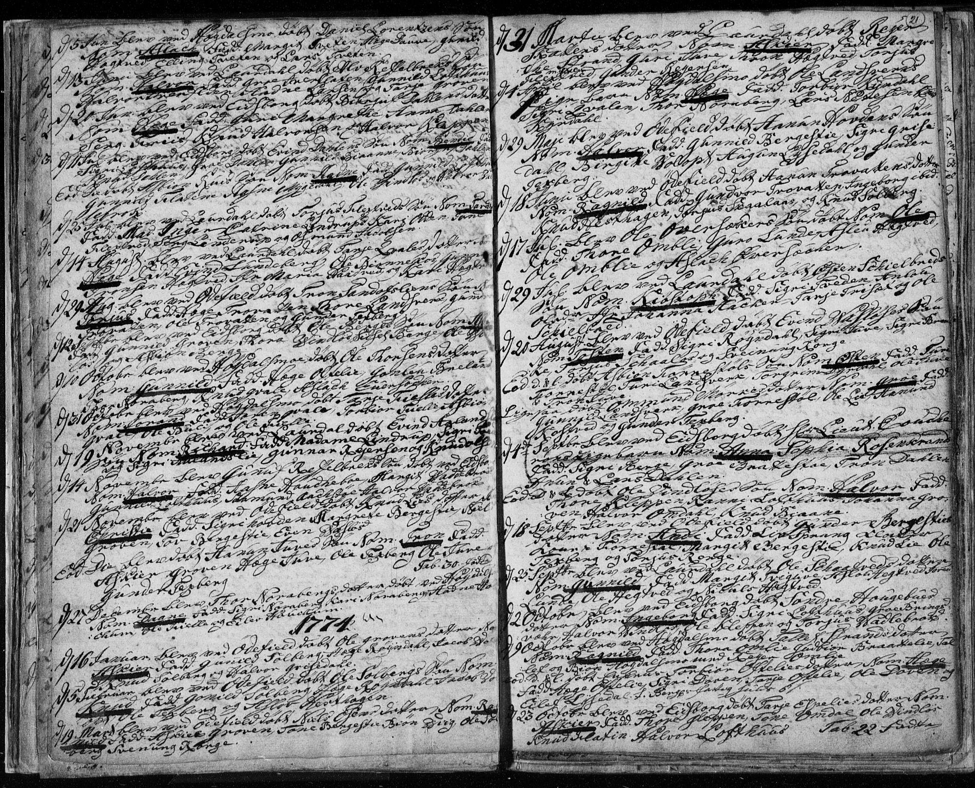 SAKO, Lårdal kirkebøker, F/Fa/L0003: Ministerialbok nr. I 3, 1754-1790, s. 21